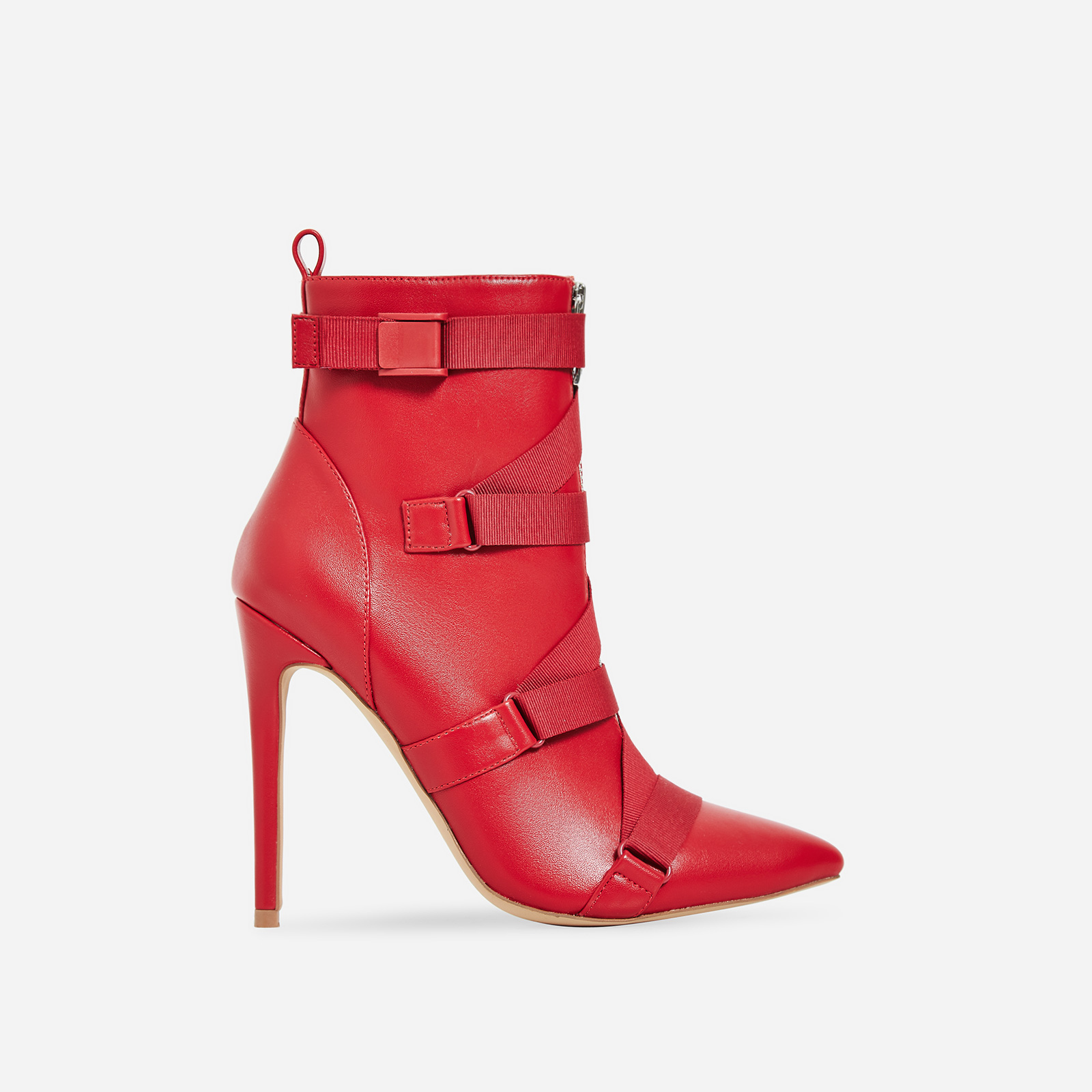 Halle Strap Detail Ankle Boot In Red Faux Leather