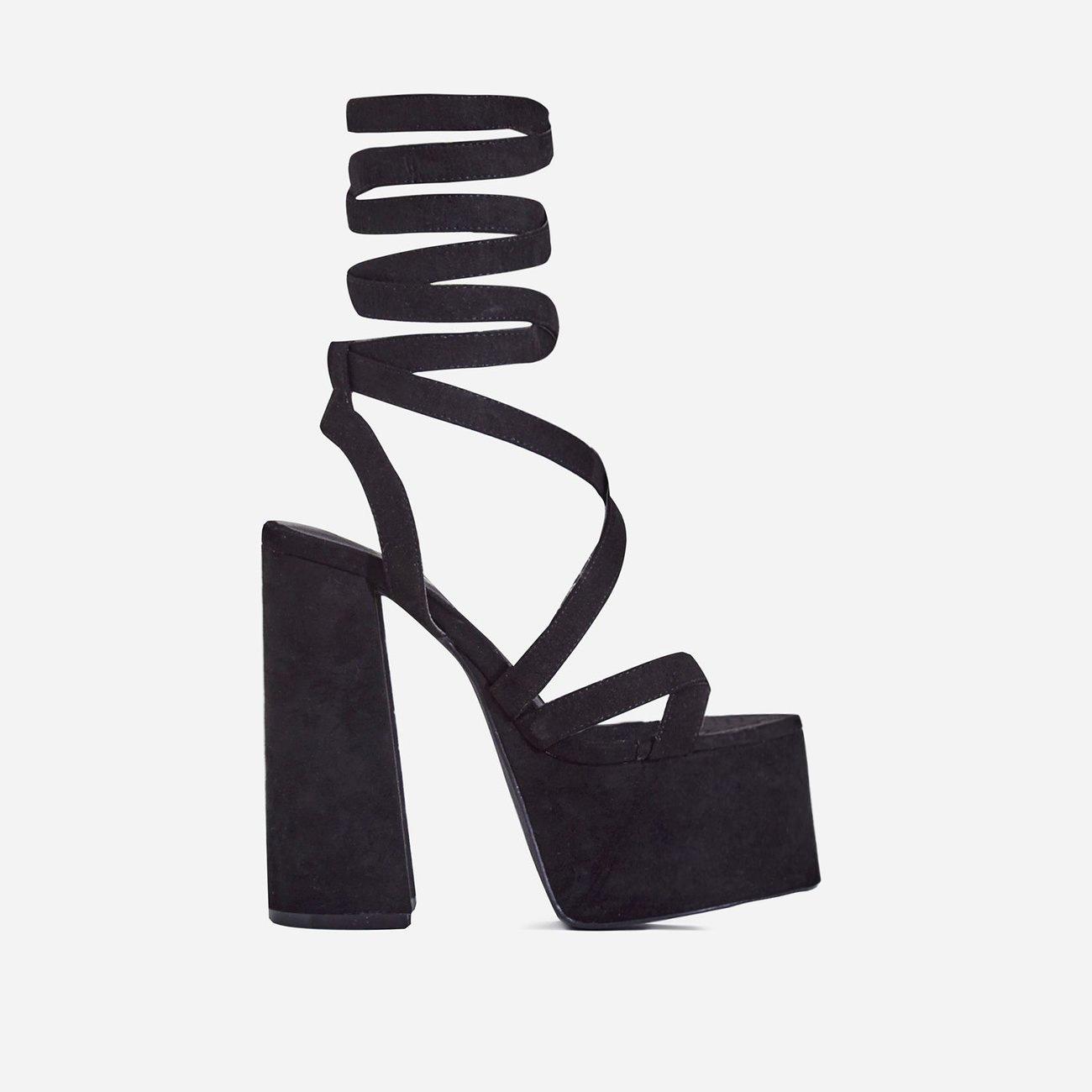 Harlow Lace Up Platform Heel In Black Faux Suede