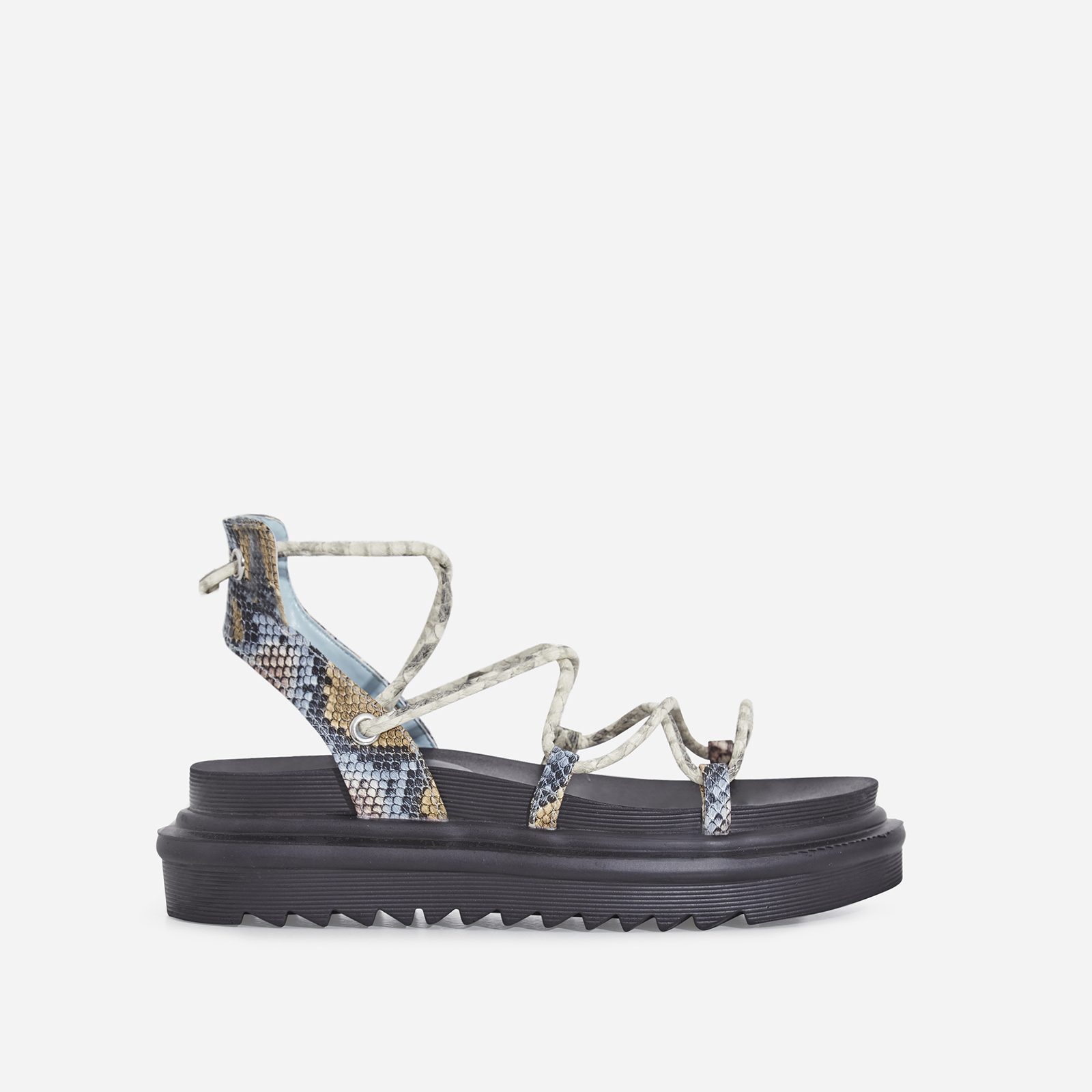 Harper Lace Up Chunky Sole Sandal In Blue Snake Print Faux Leather