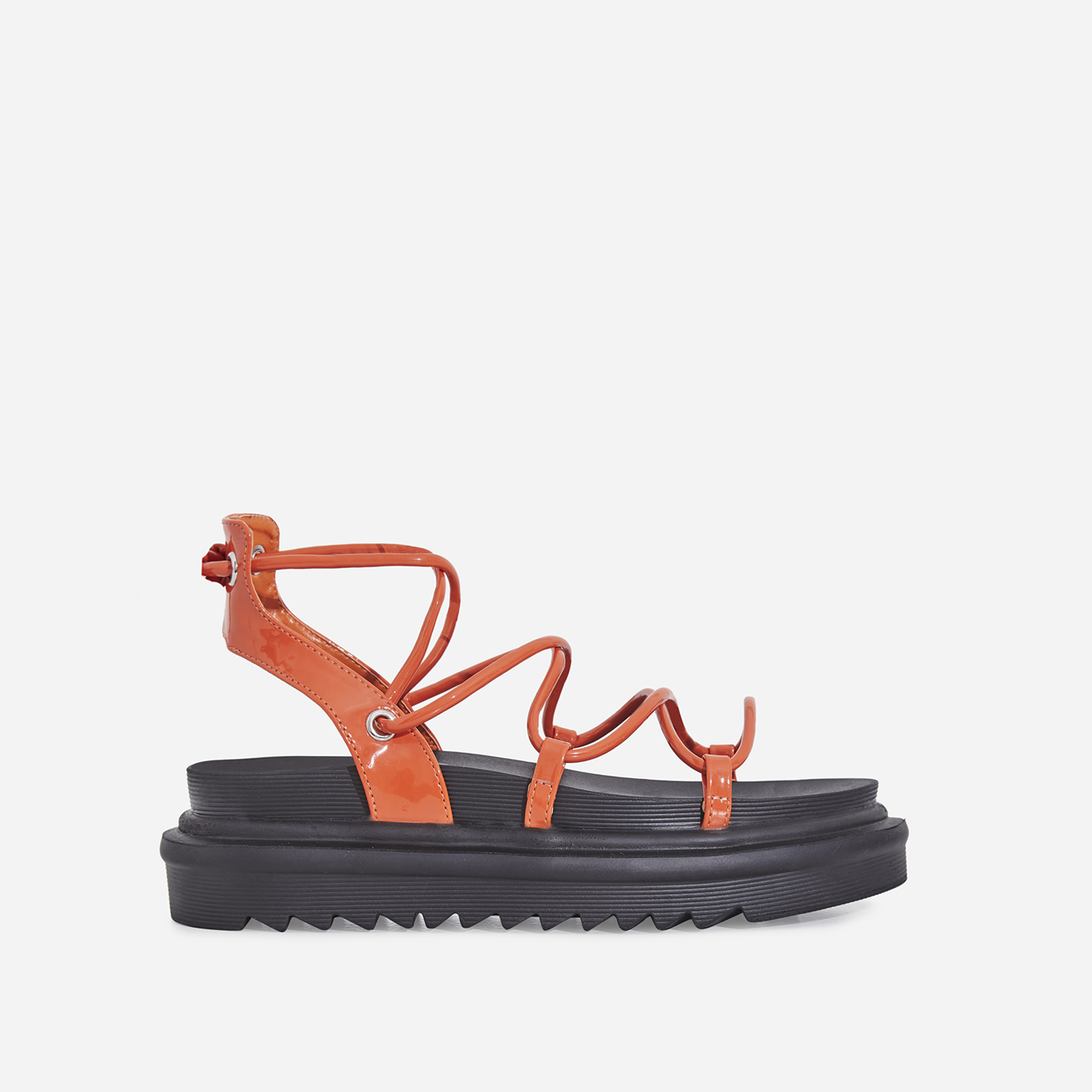 Harper Lace Up Chunky Sole Sandal In Orange Patent