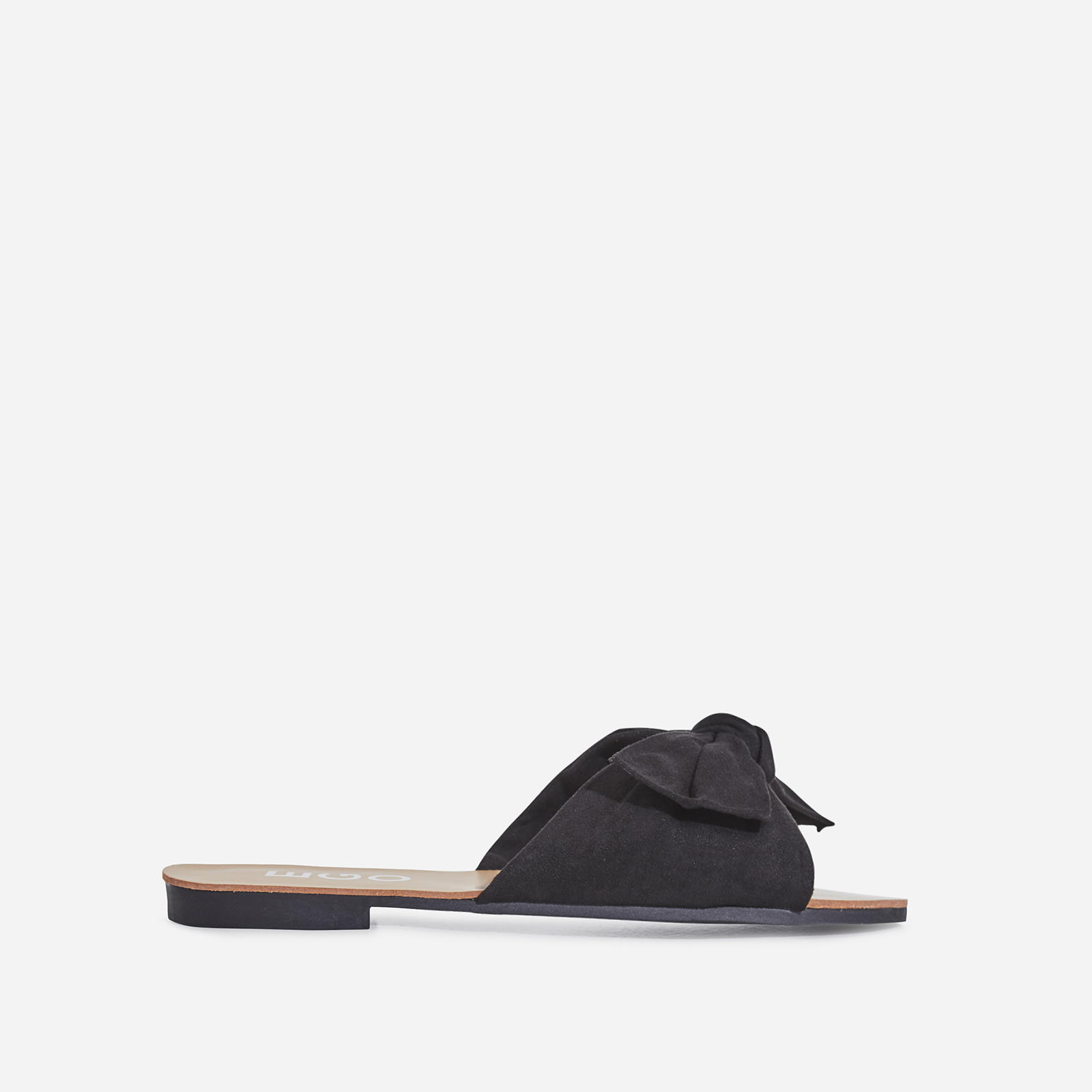 Hebe Box Detail Slider In Black Faux Suede