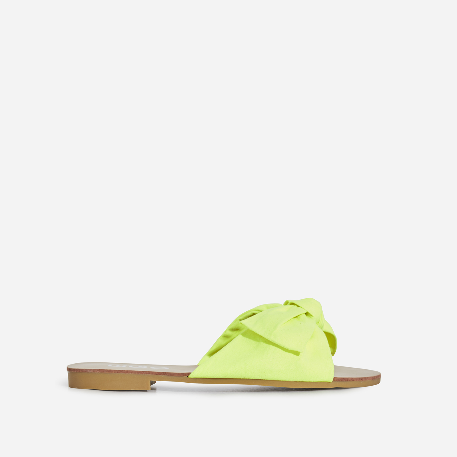 Hebe Box Detail Slider In Neon Yellow Faux Suede