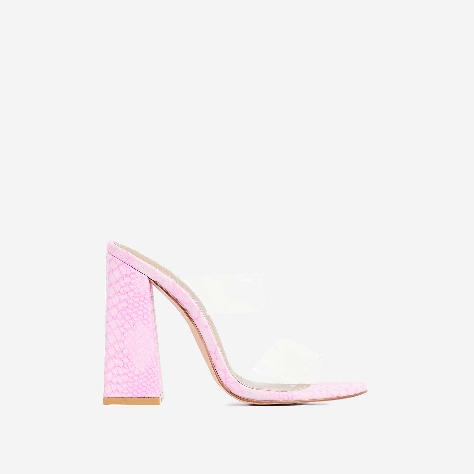 Hester Flared Block Heel Perspex Mule In Pink Snake Print Faux Leather