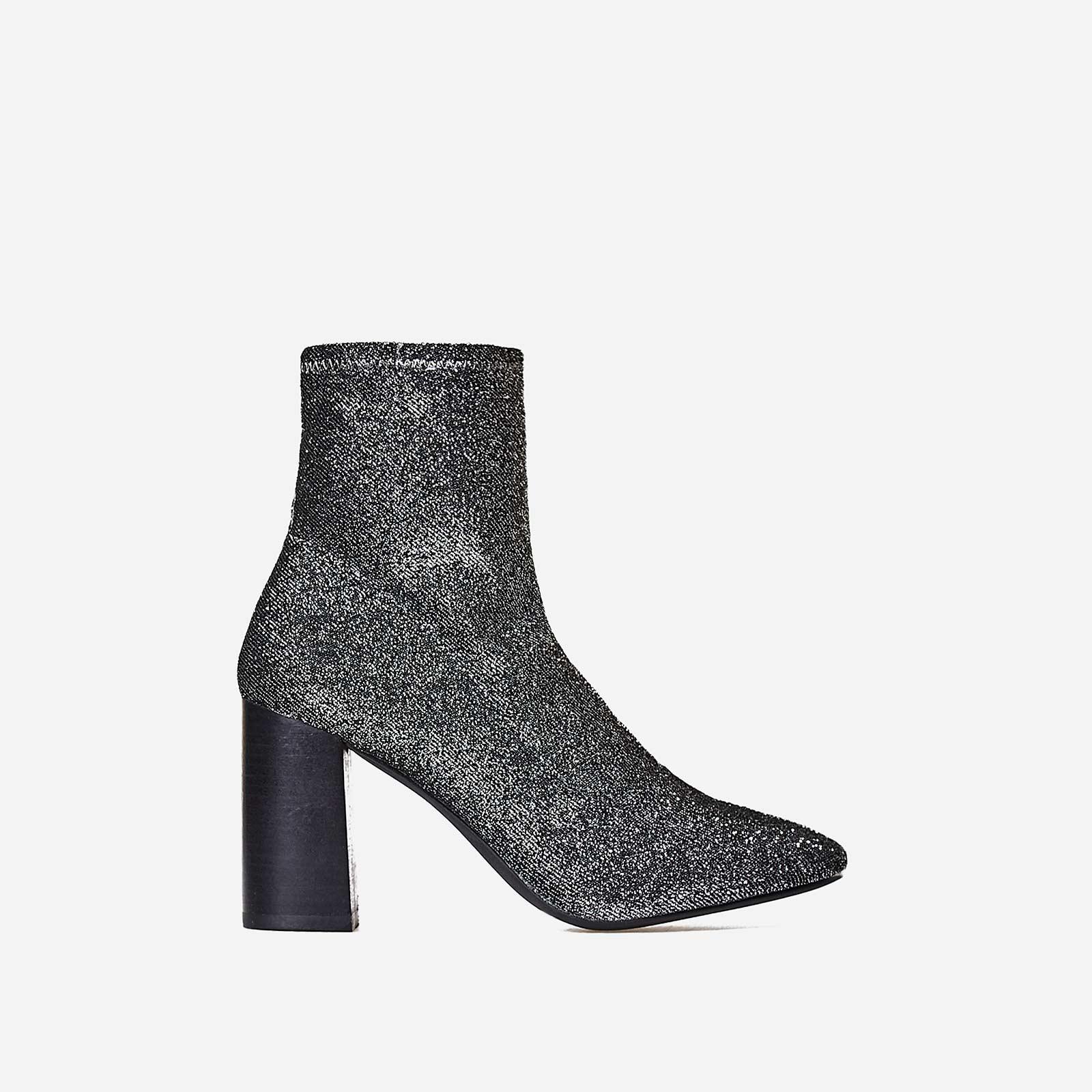 Electra Block Heel Ankle Boot In Metallic Silver Knit