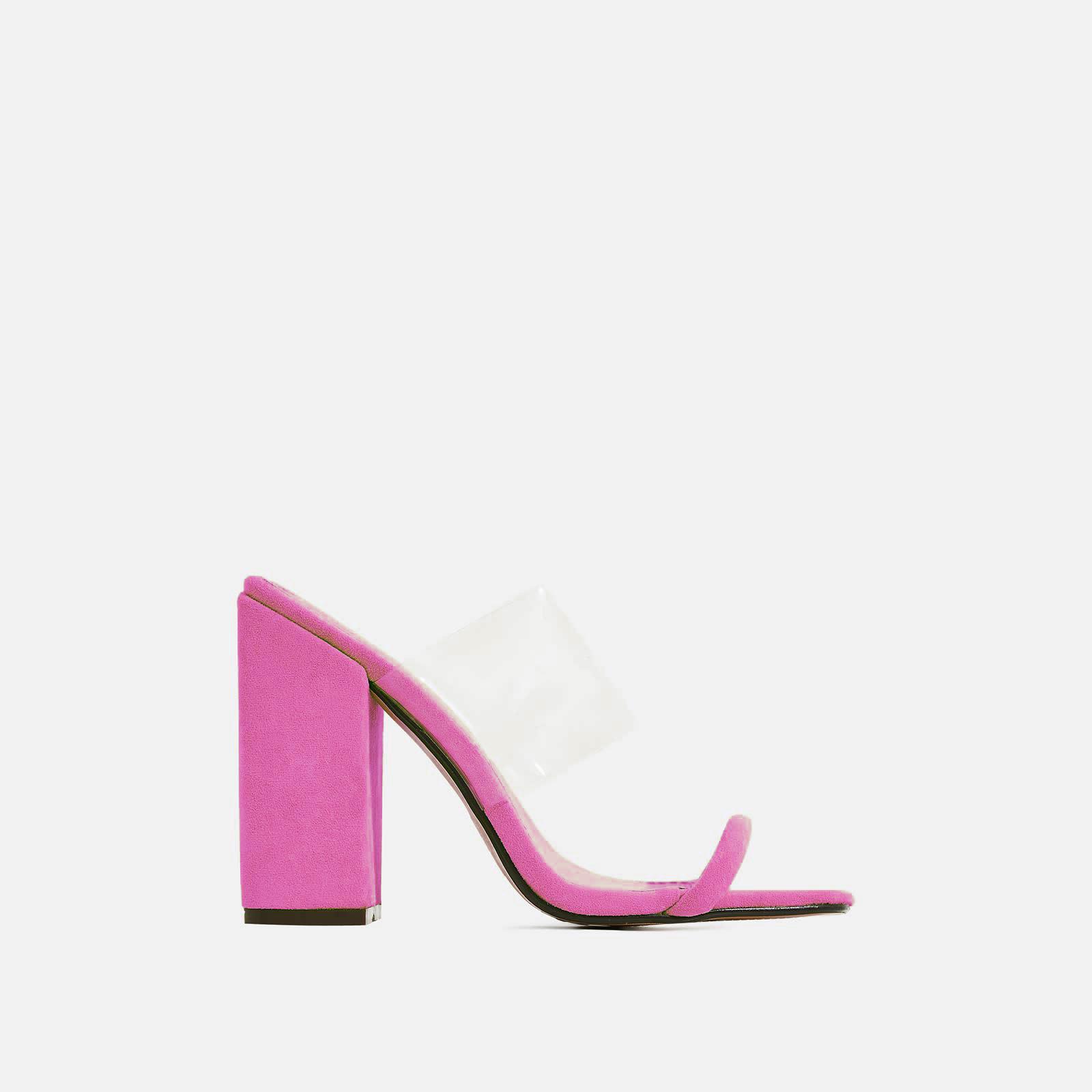 Elle Block Heel Perspex Heel Mule In Fuchsia Pink Faux Suede