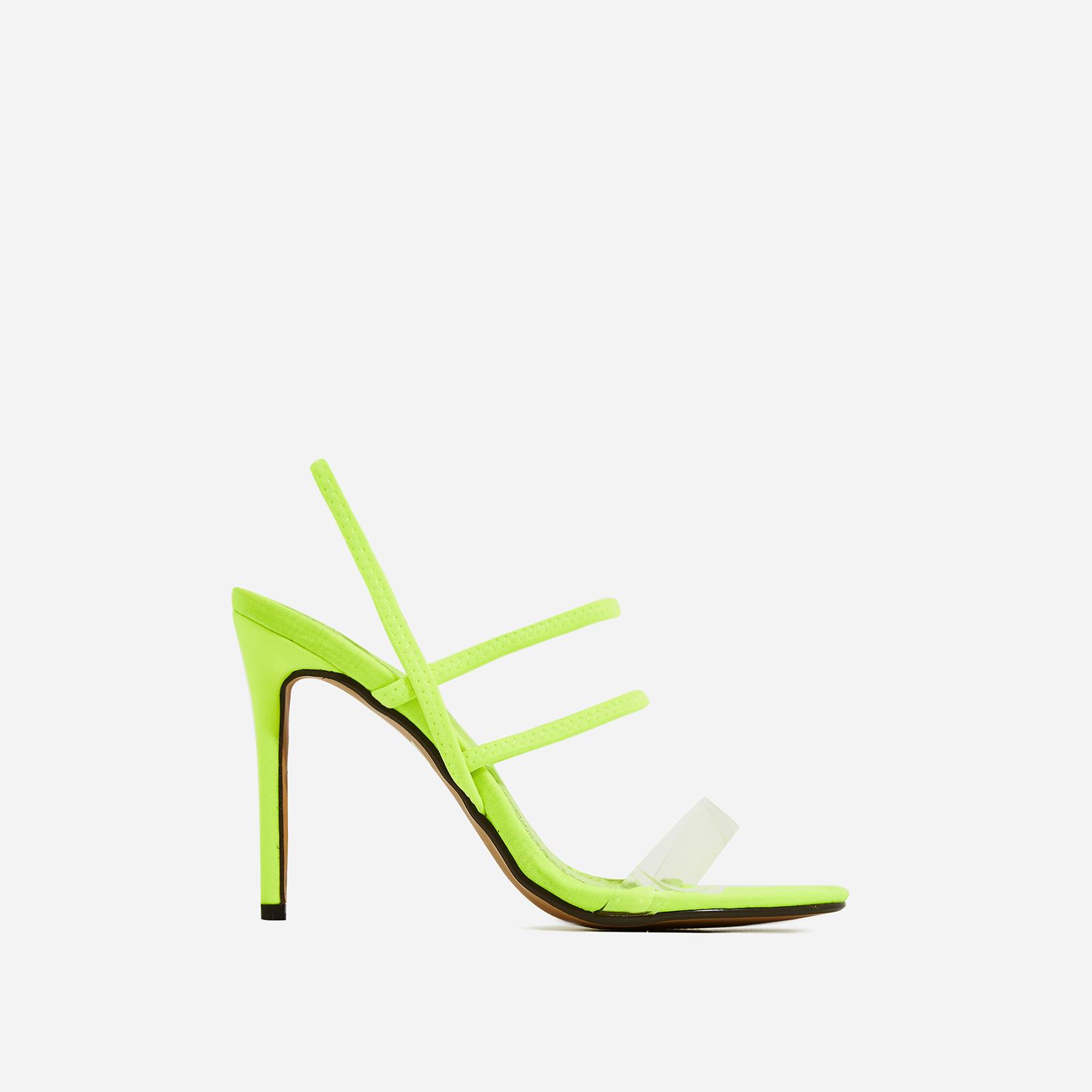 Sachi Perspex Detail Heel In Neon Green Lycra