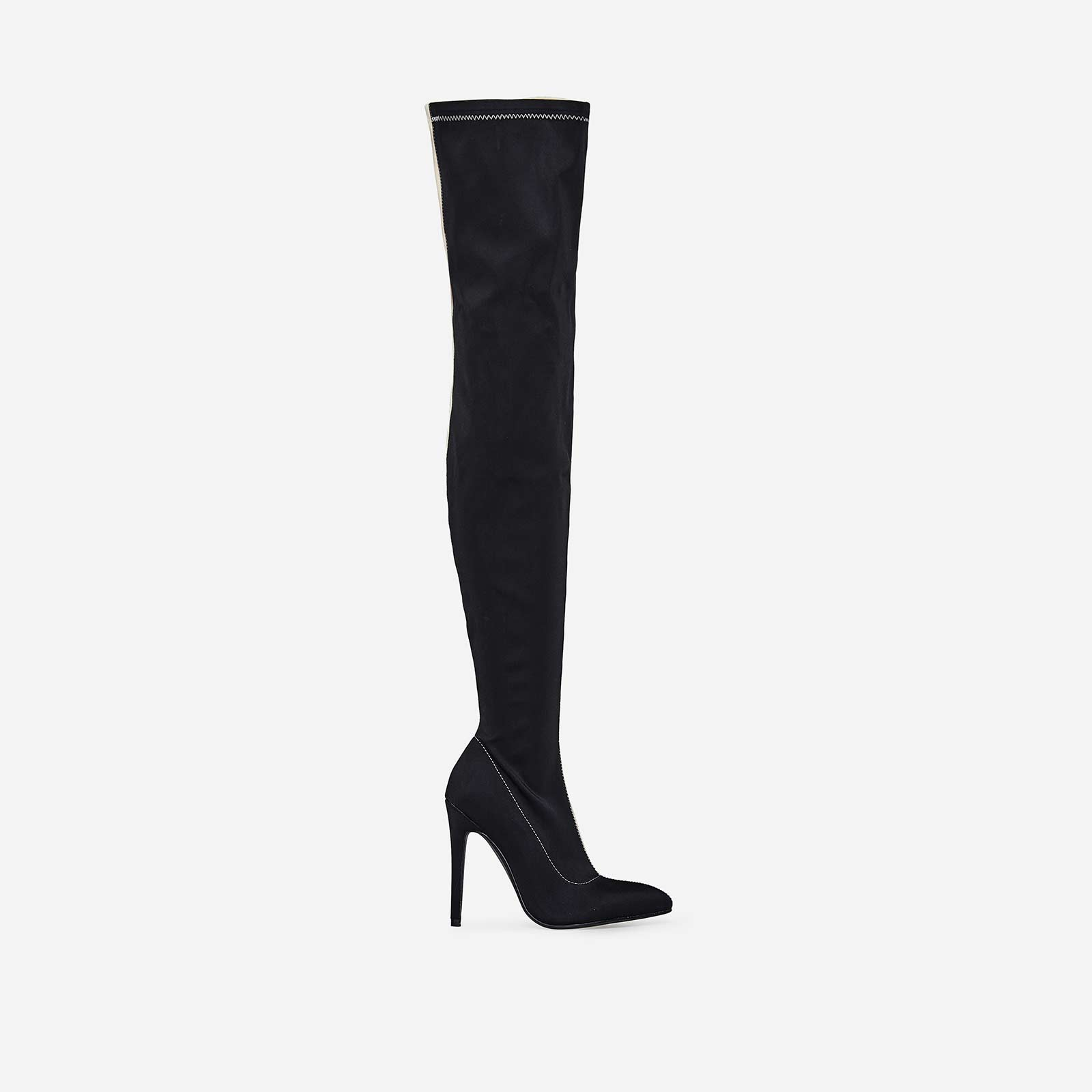 Hustler Two Tone Thigh High Long Boot In Black And Nude Lycra