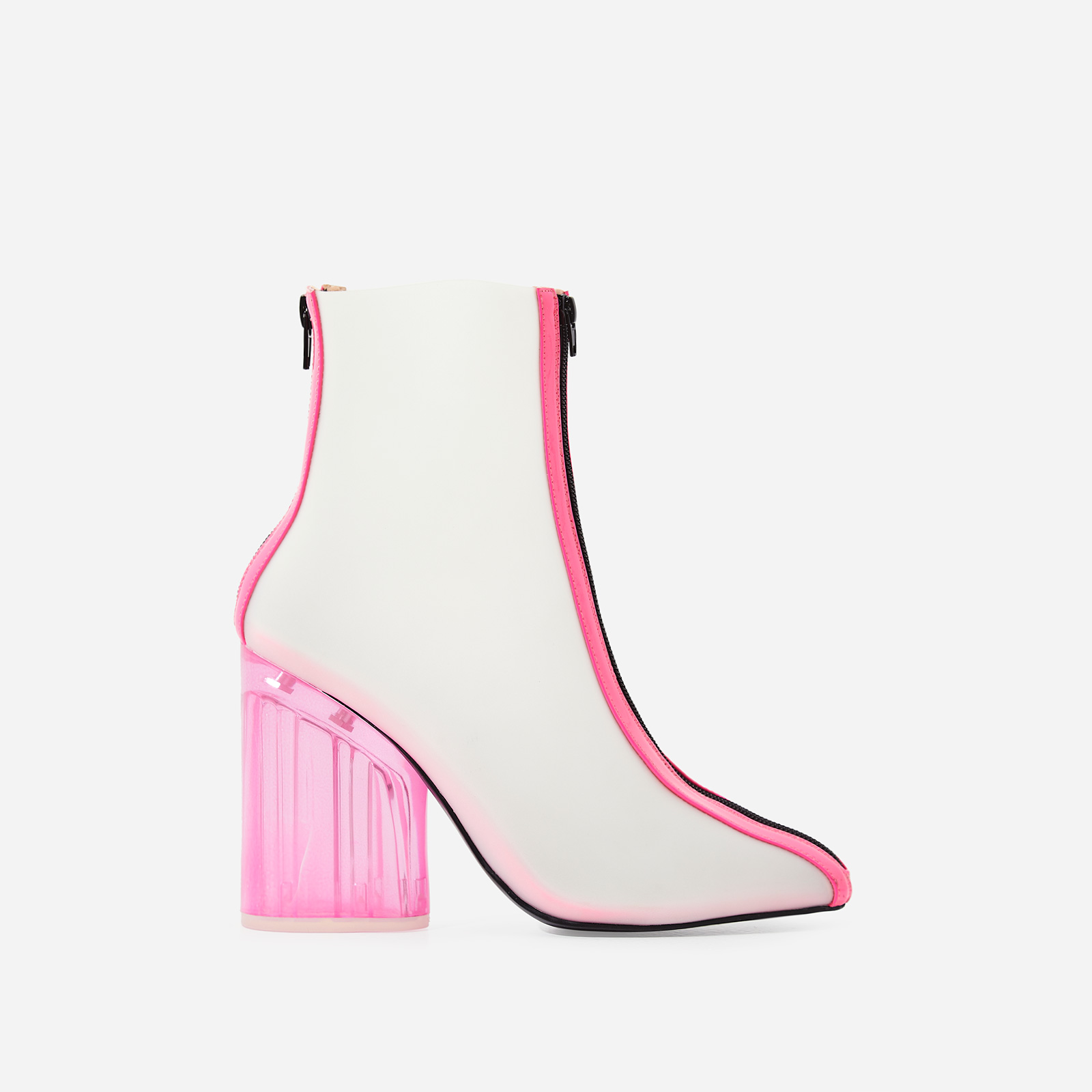 Ice Frosted Perspex Ankle Boot In Neon Pink Patent