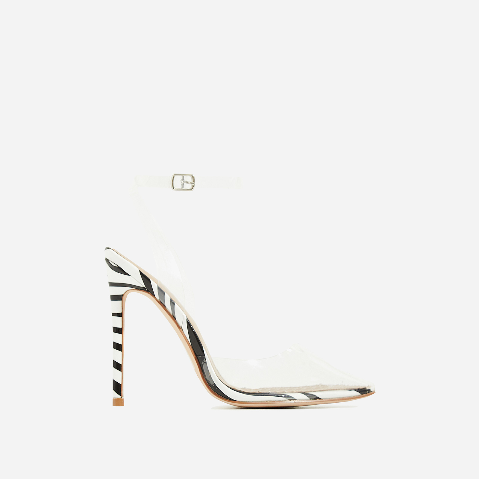 Icon Perspex Barely There Heel In Zebra Print Patent