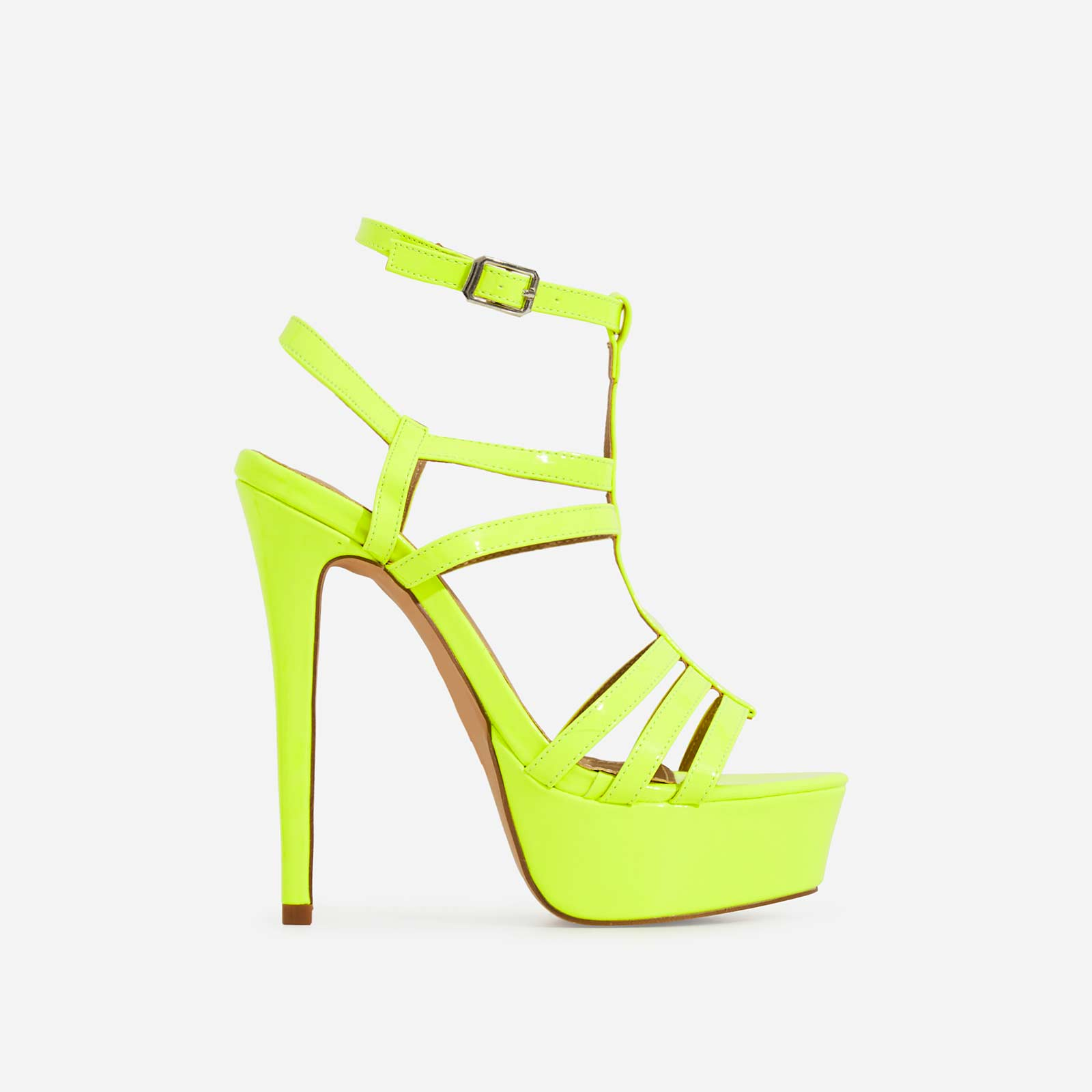 Iconic Cage Platform Heel In Lime Green Patent