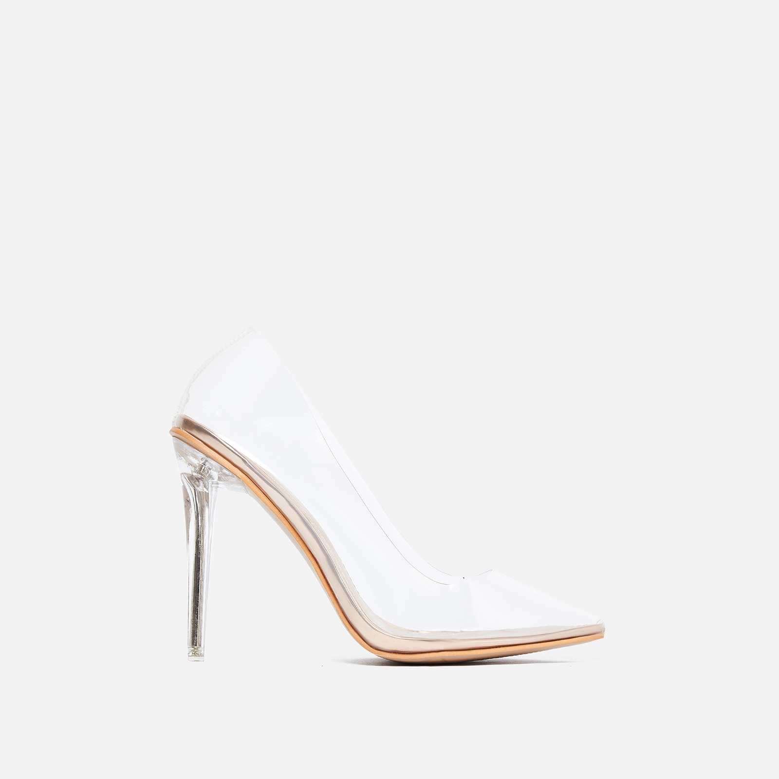 Virginia Perspex Court Heel In Rose Gold Patent