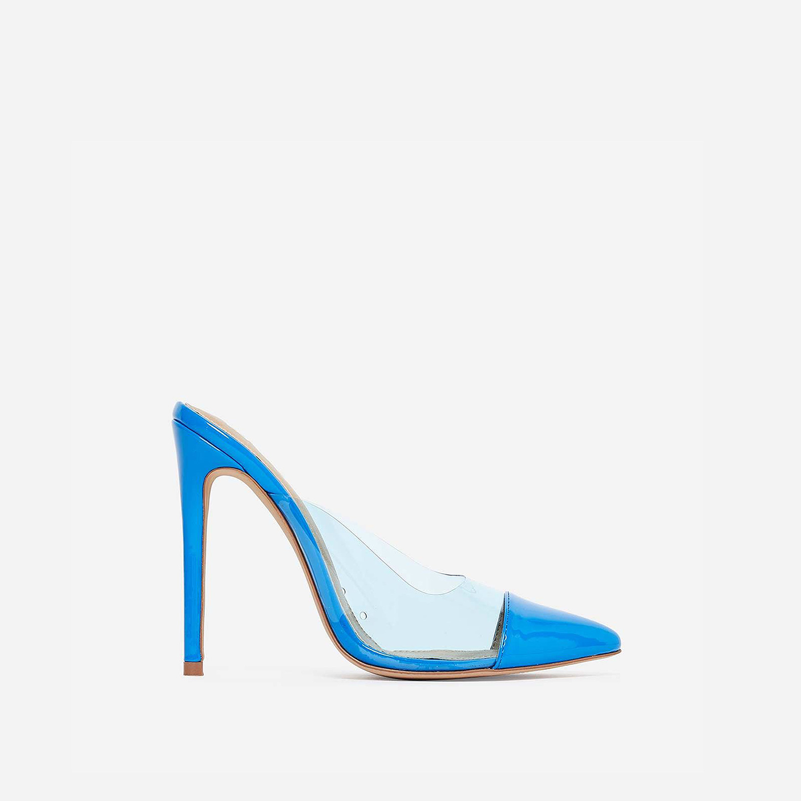 Korra Closed Pointed Toe Perspex Mule In Blue Patent