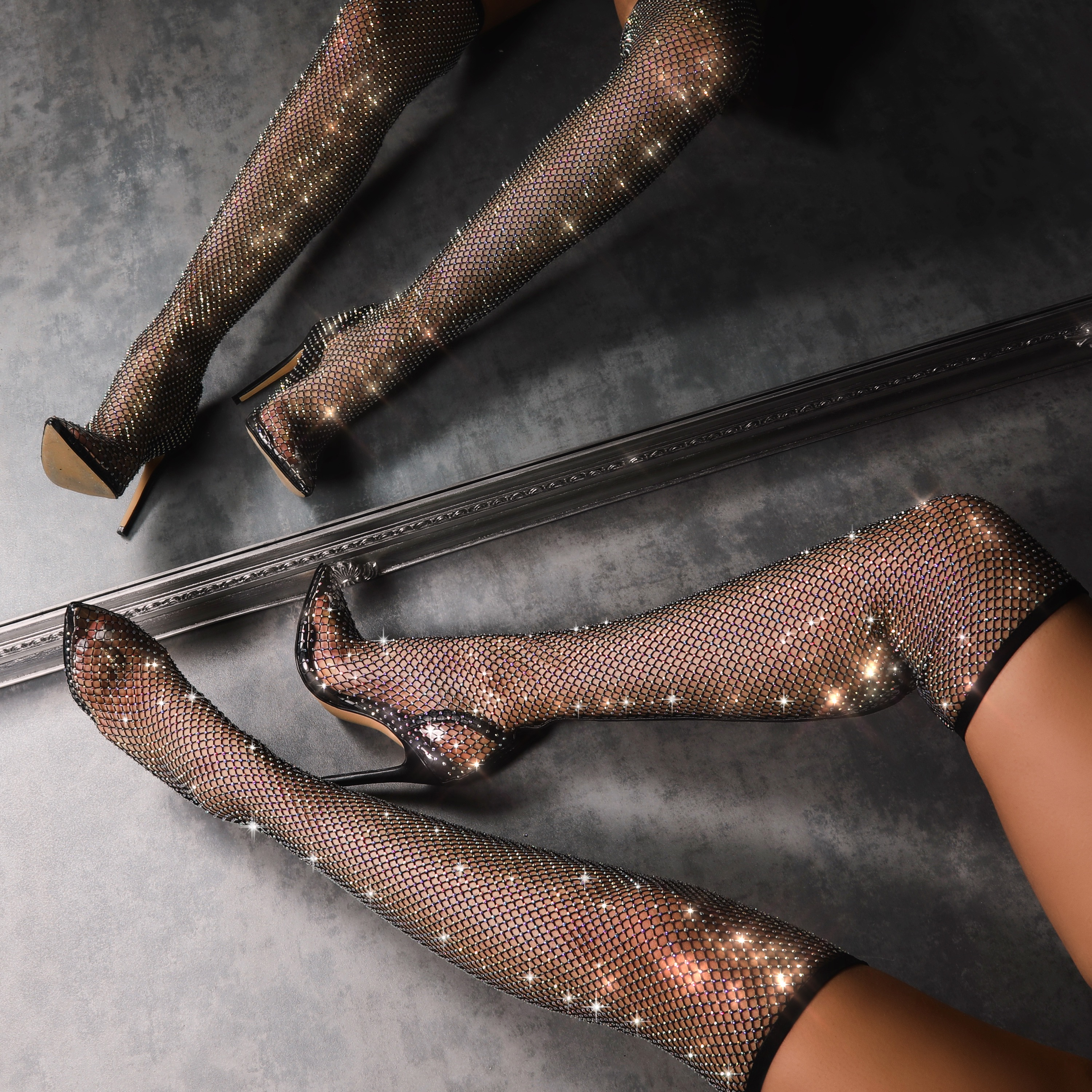 Anna Multi Colour Diamante Detail Fishnet Over The Knee Thigh High Long Boot In Black