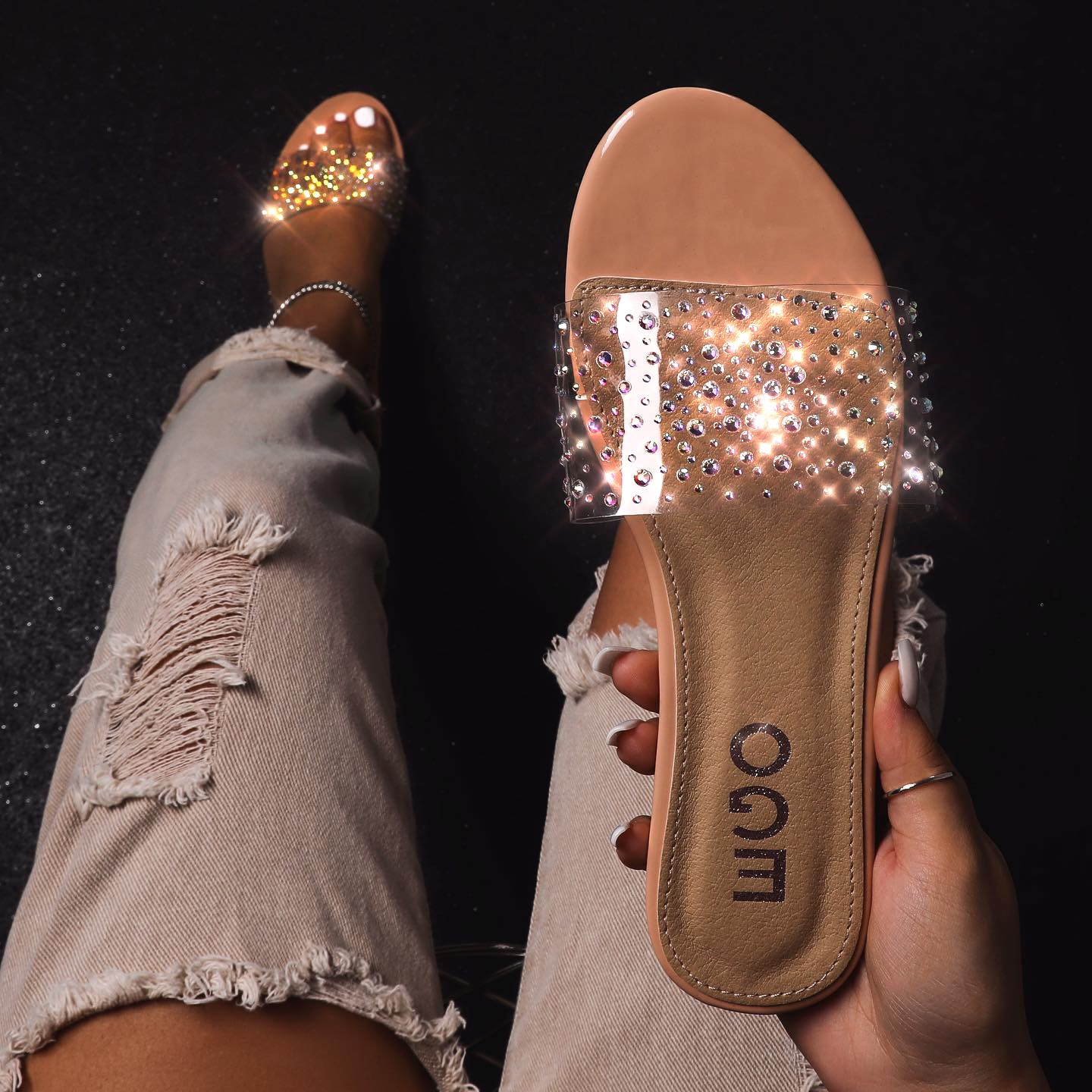 Stunning Diamante Detail Clear Perspex Flat Sandal In Nude Patent