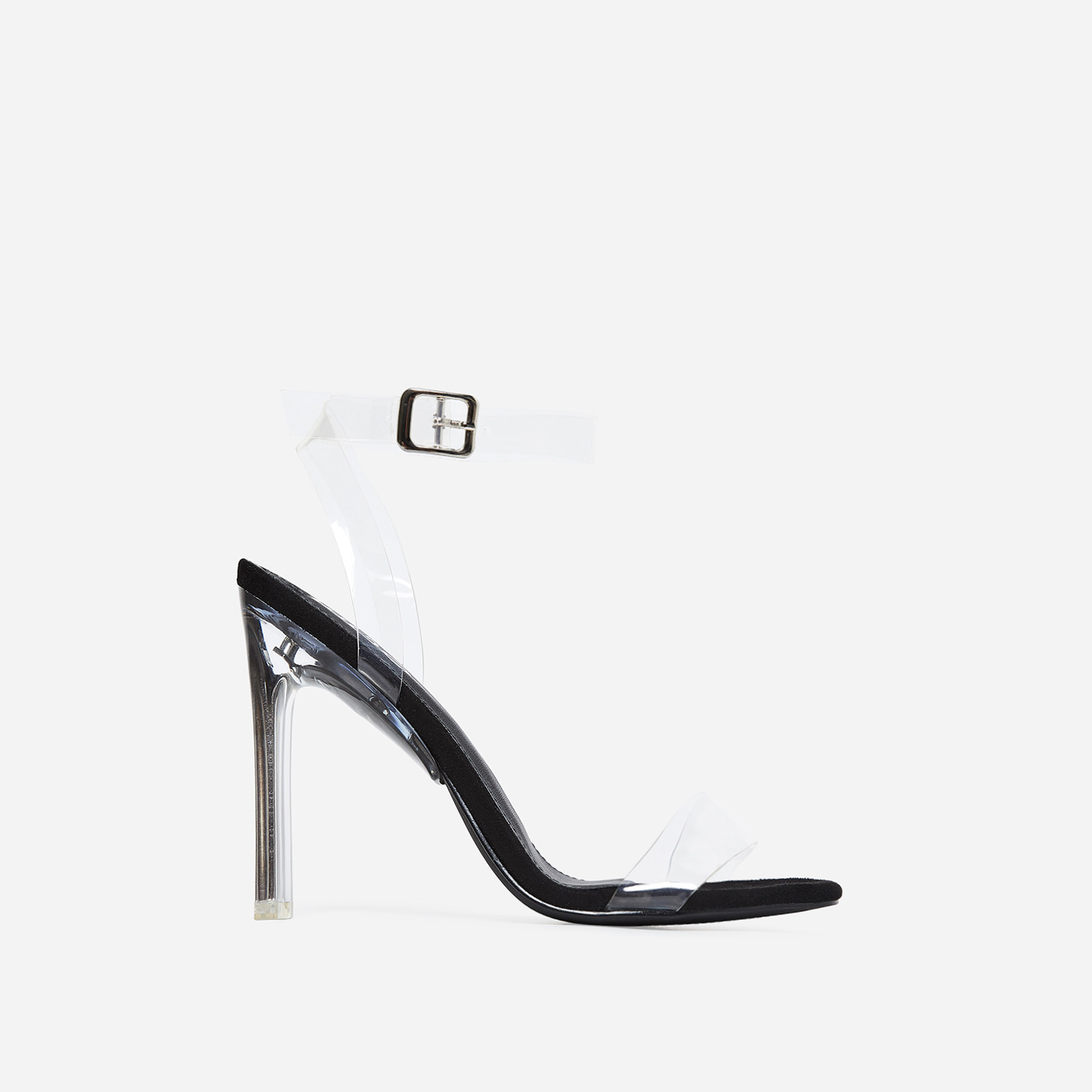 Invisible Barely There Flat Perspex Heel In Black Faux Suede