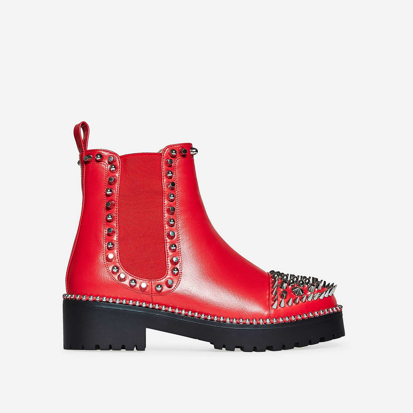Jack Silver Studded Detail Biker Boot In Red Faux Leather