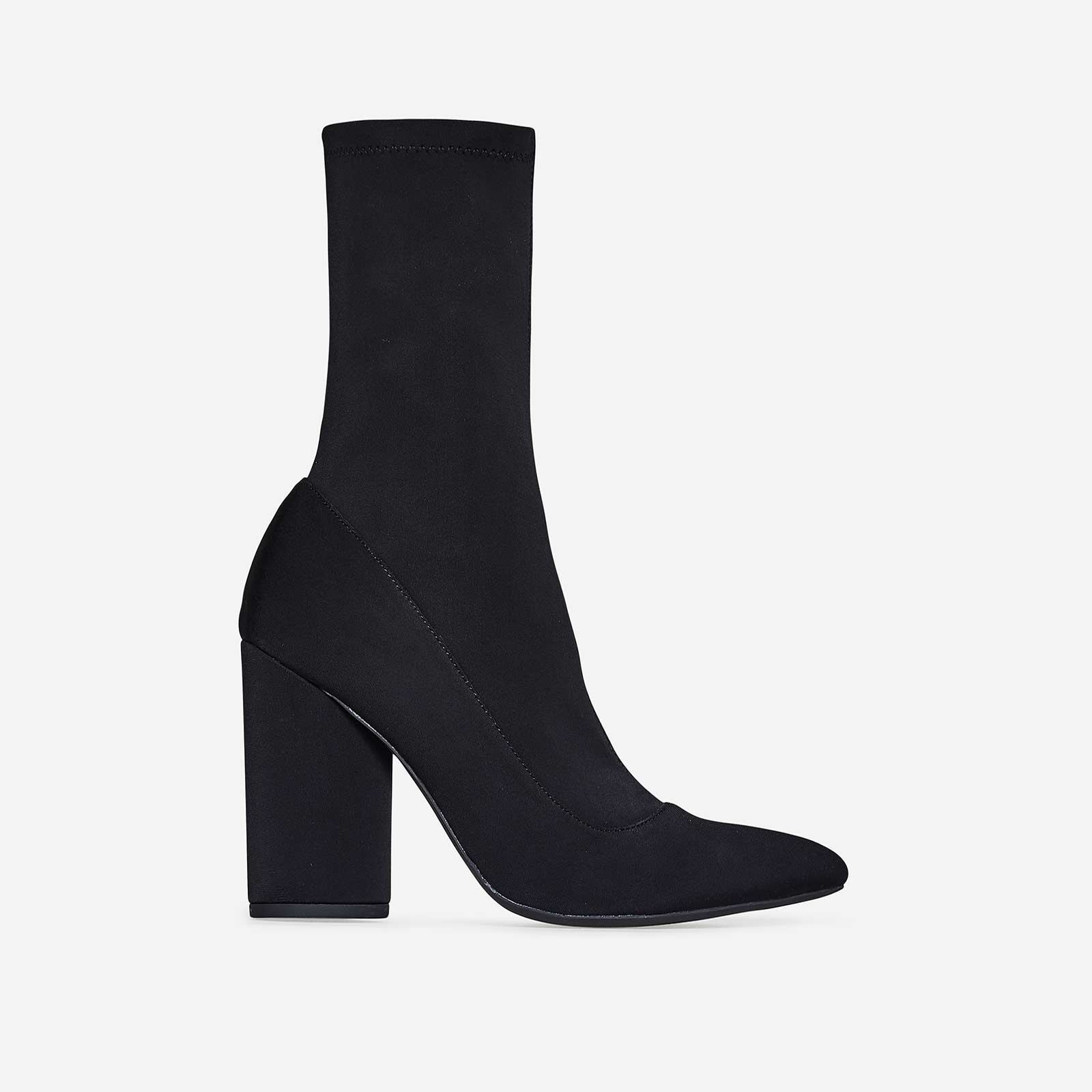 Jameson Block Heel Sock Boot In Black Lycra