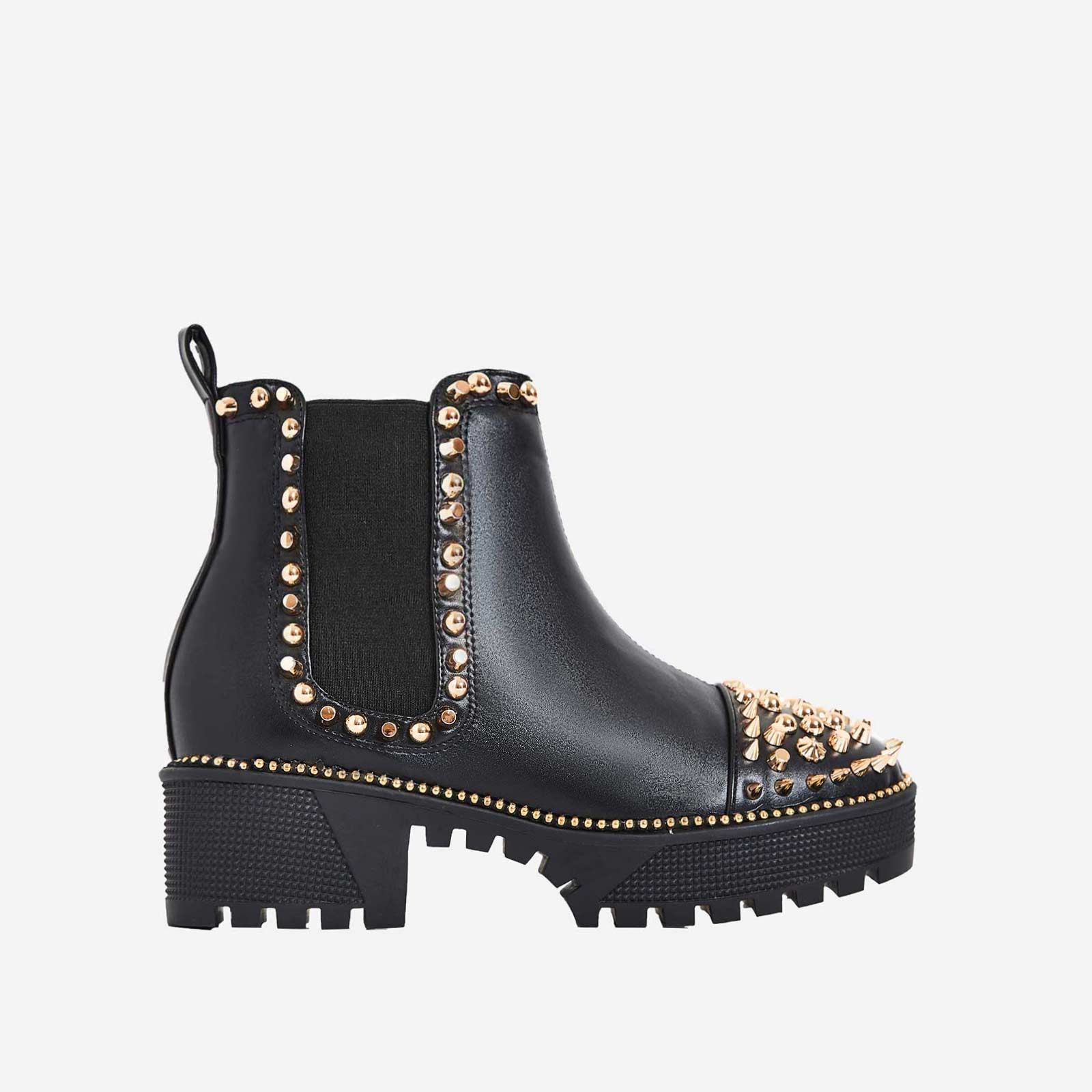 Jack Gold Studded Detail Biker Boot In Black Faux Leather