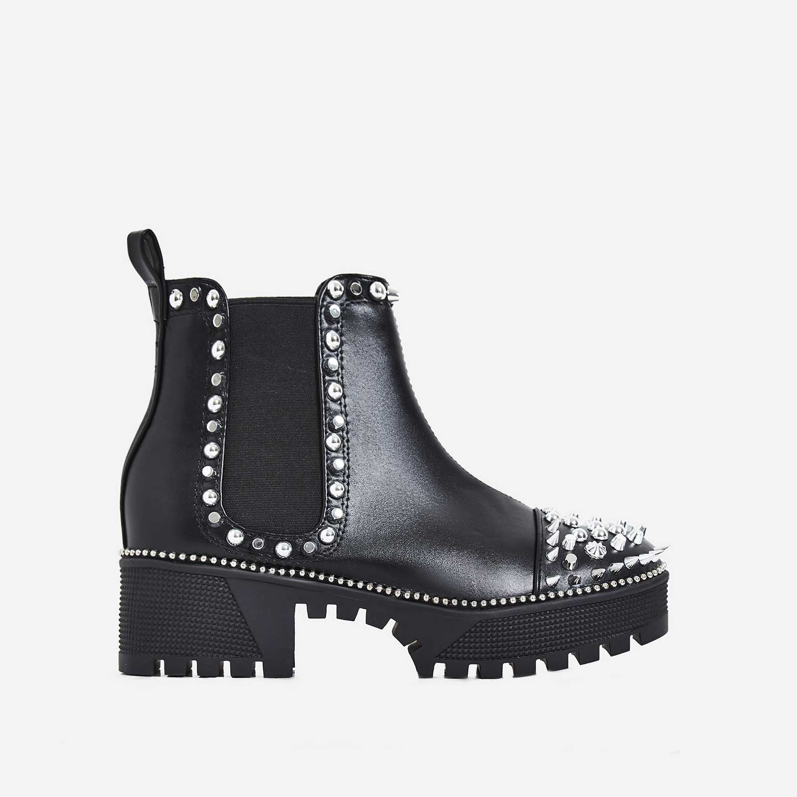 Jack Silver Studded Detail Biker Boot In Black Faux Leather