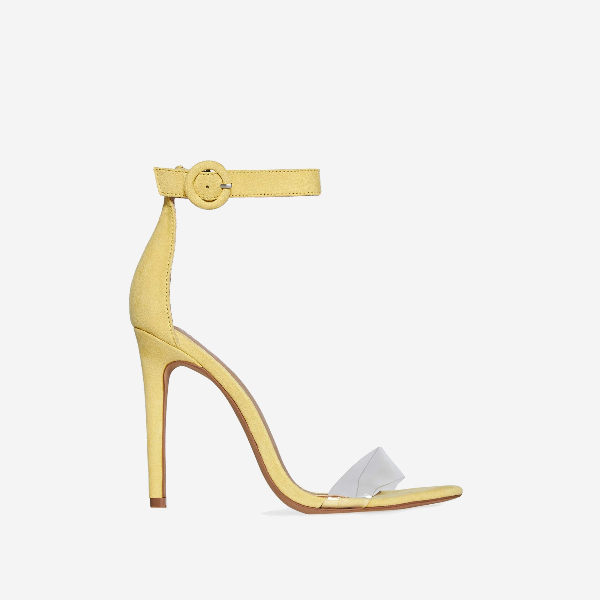 Jena Perspex  Barley There Heel In Yellow Faux Suede