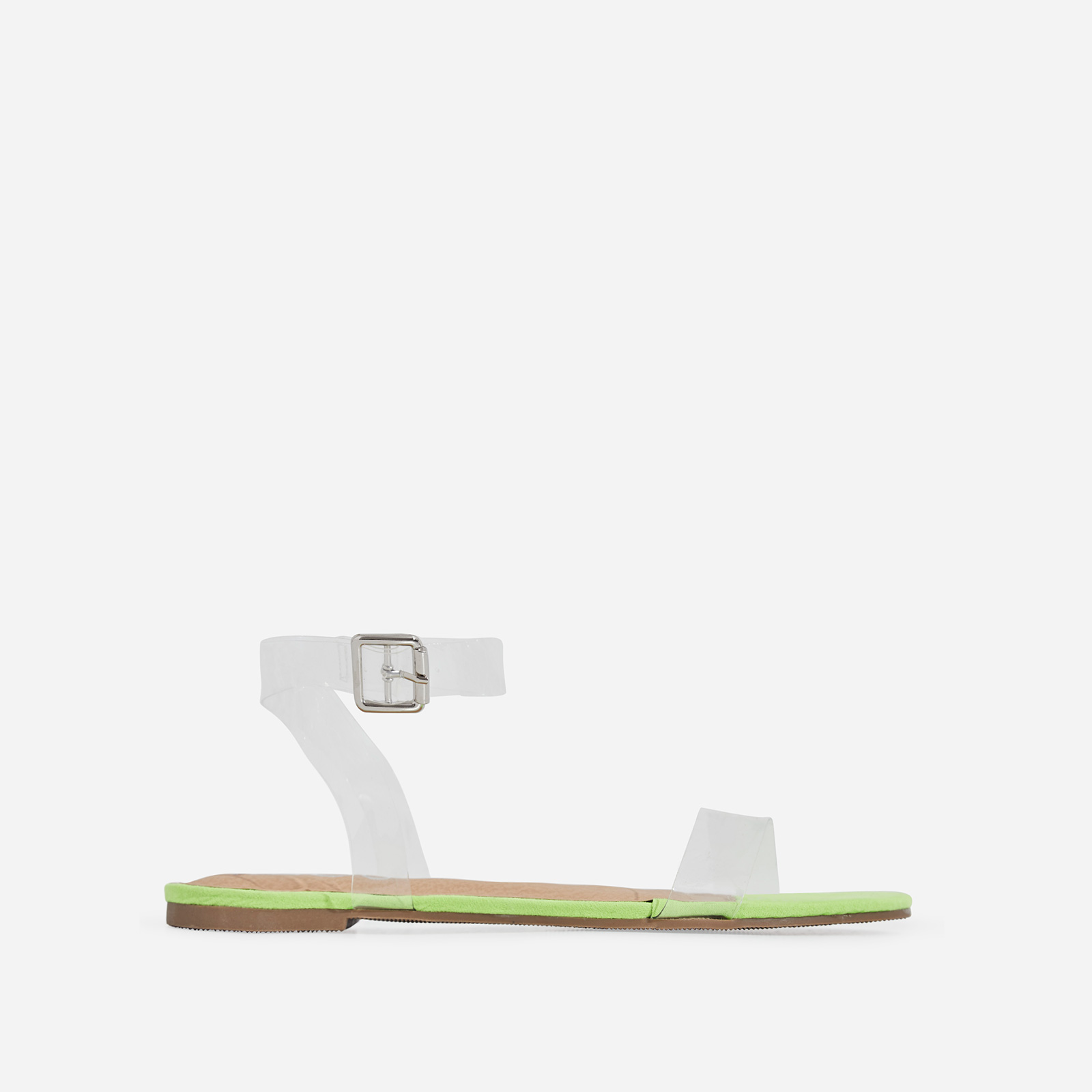 Jil Perspex Flat Sandal In Lime Green Faux Suede