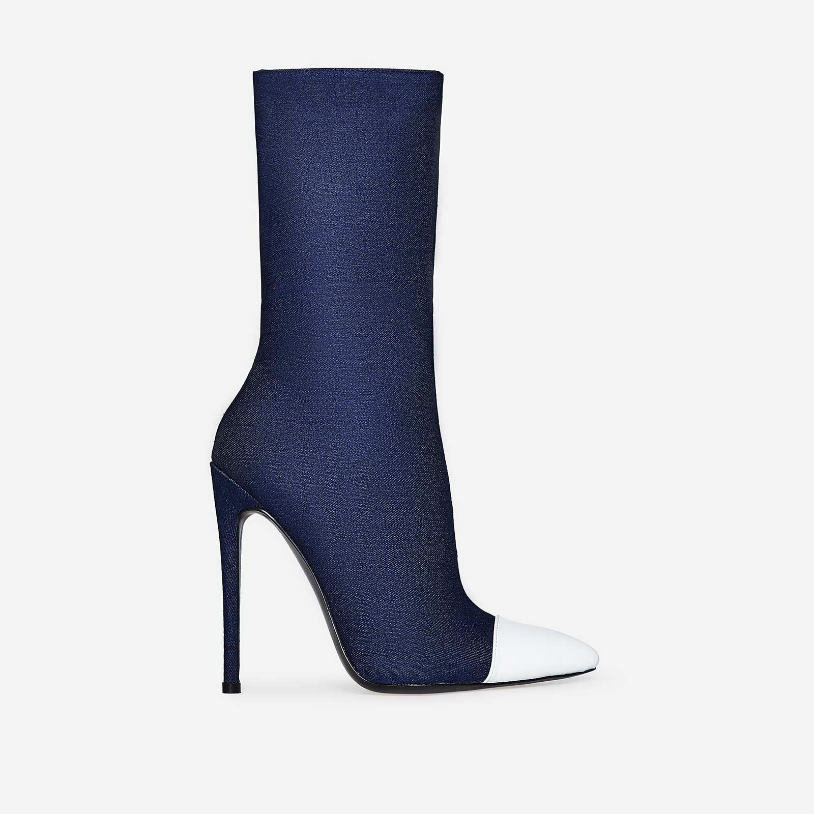 Joe Contrast Toe Sock Boot In Blue Denim