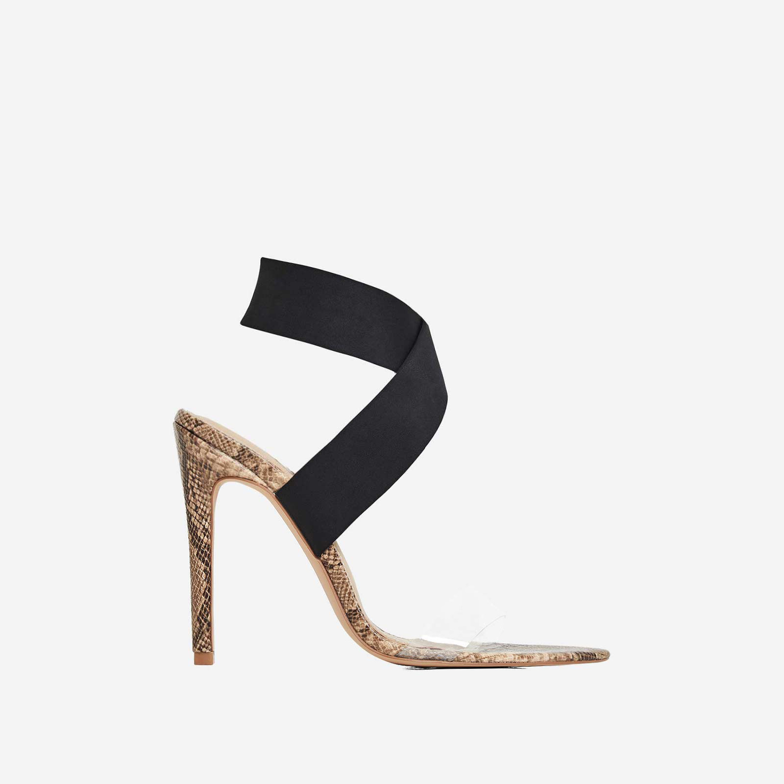 Joma Perspex Detail Heel In Nude Snake Print Faux Leather
