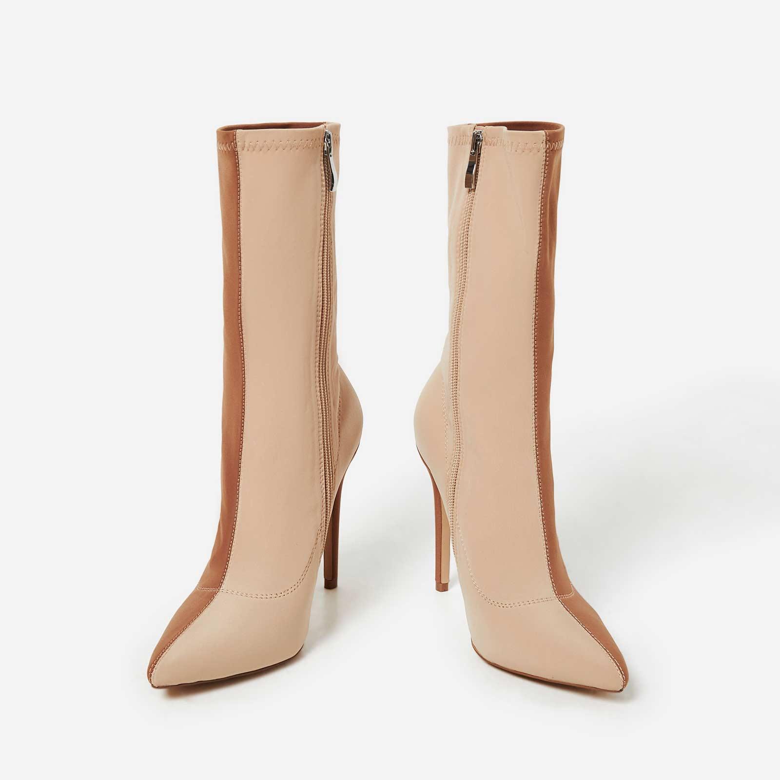 Josee Two Tone Sock Boot In Nude Lycra
