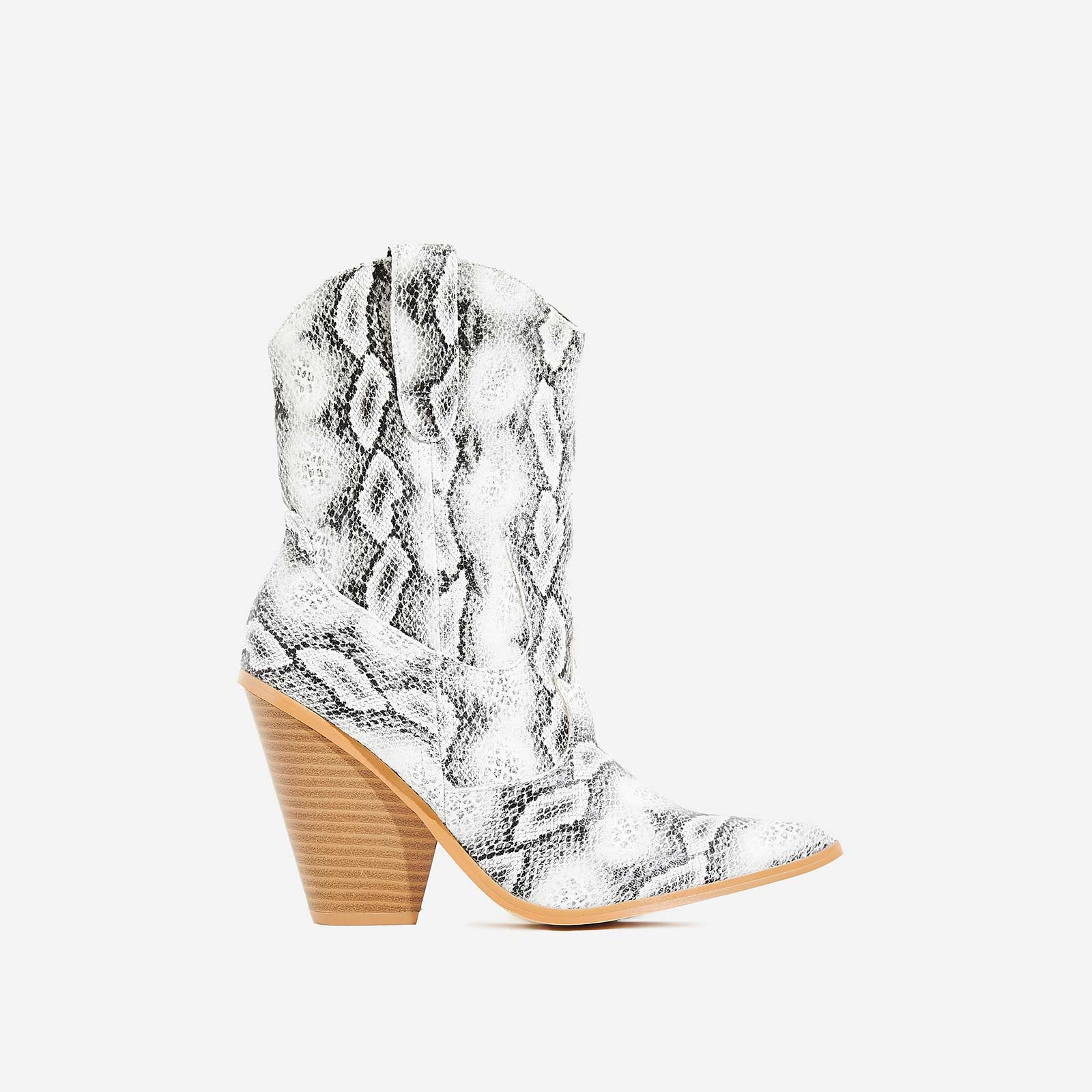 Kani Western Ankle Boot In Grey Snake Print Faux Leather
