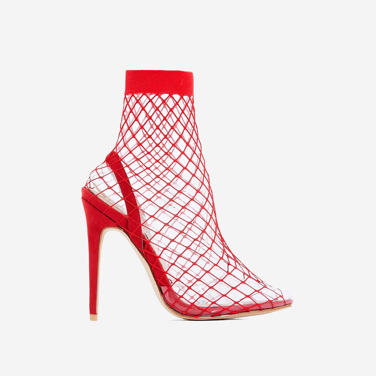 Juan Fishnet Perspex Heel In Red Faux Suede