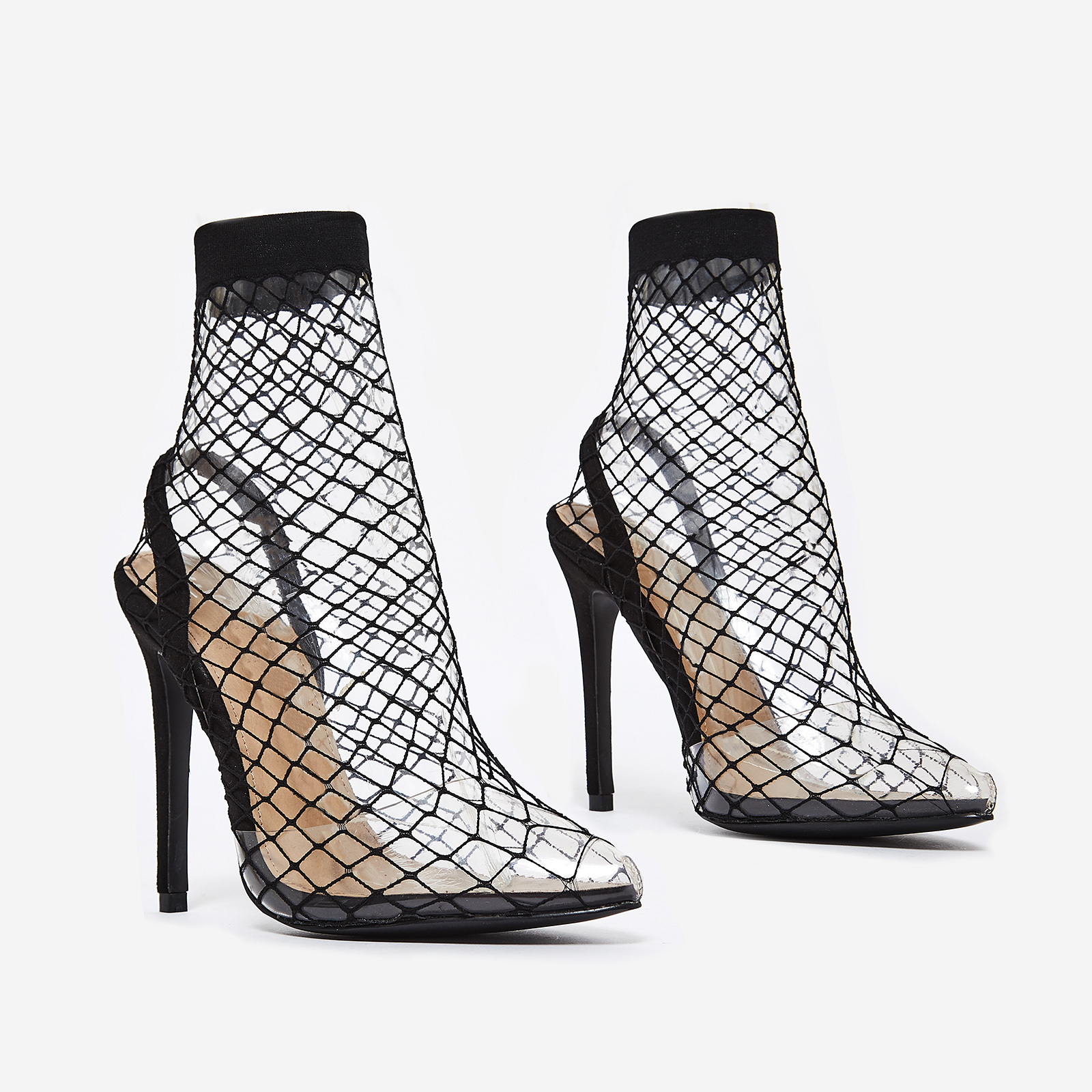 Juan Fishnet Perspex Heel In Black Faux Suede