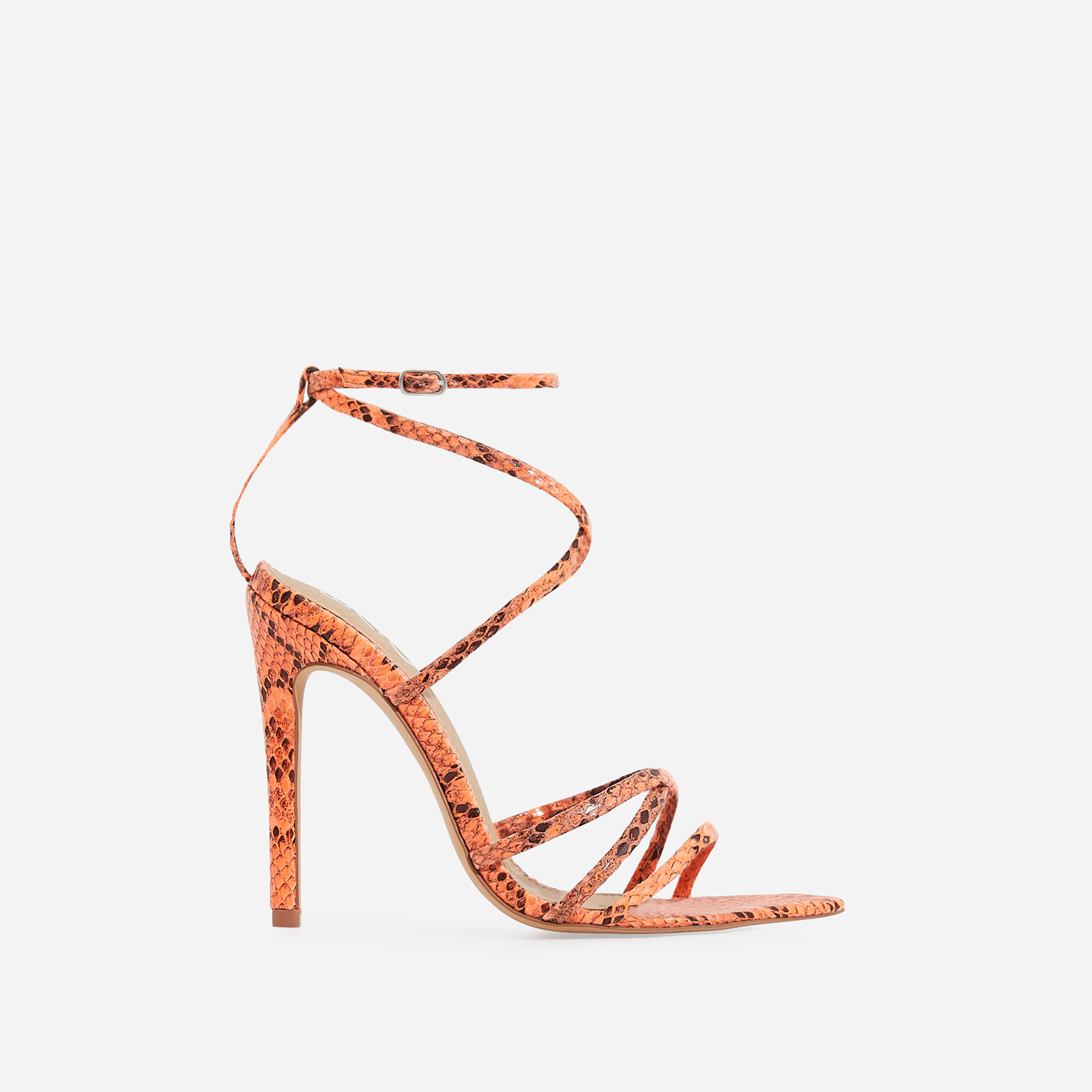 Kaia Pointed Barely There Heel In Neon Orange Snake Print Faux Leather