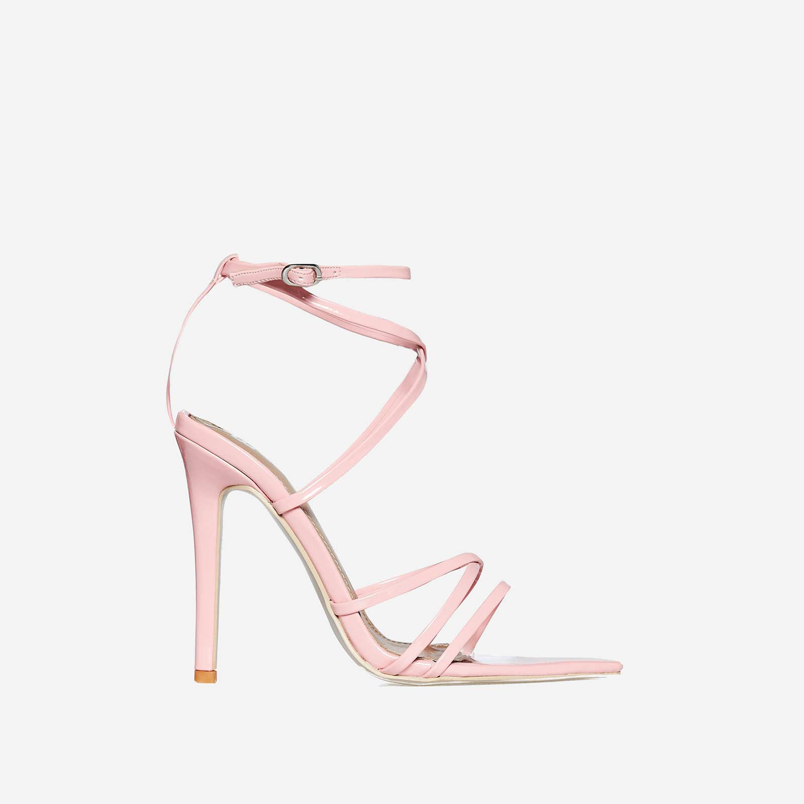 Kaia Pointed Barely There Heel In Pink Patent