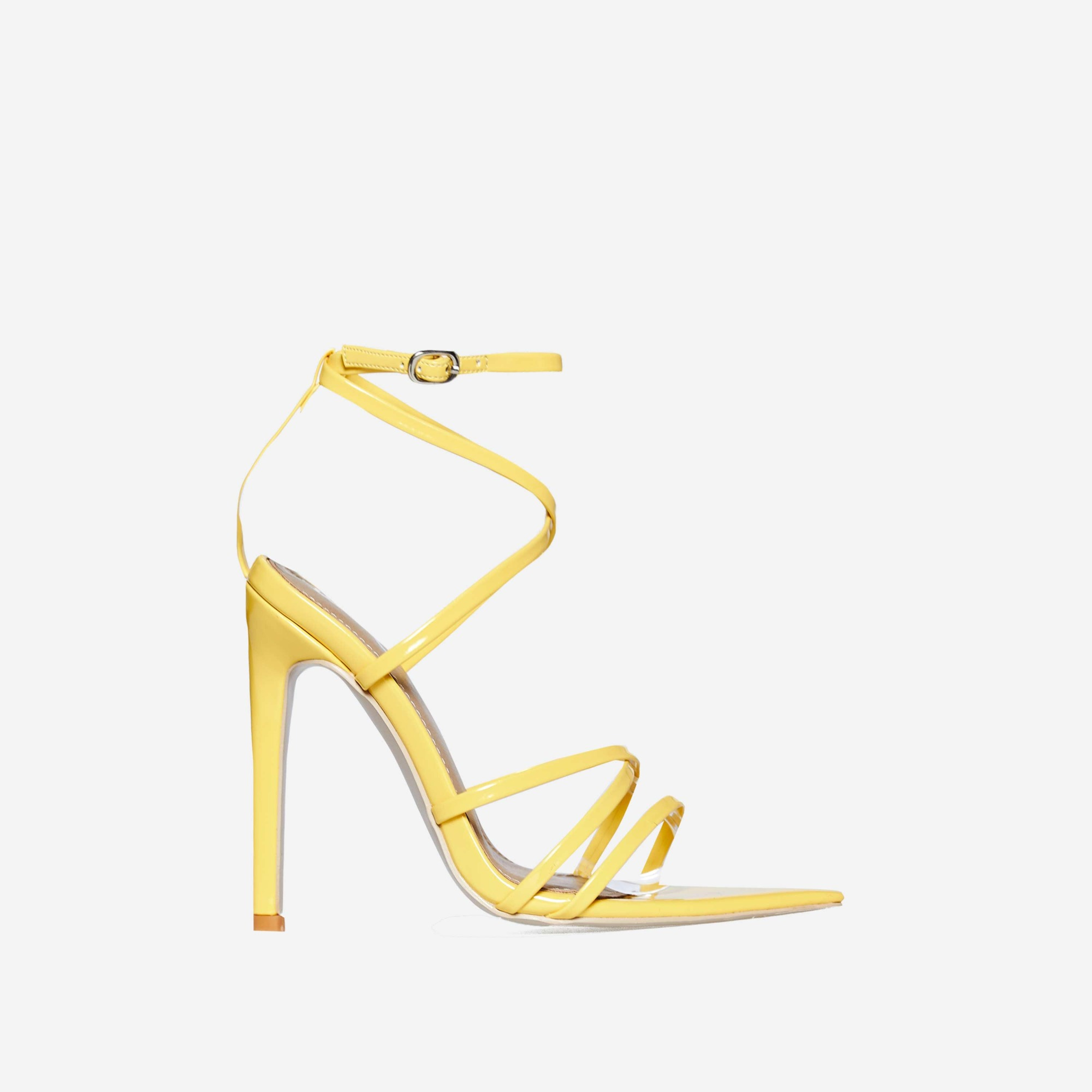Kaia Pointed Barely There Heel In Yellow Patent