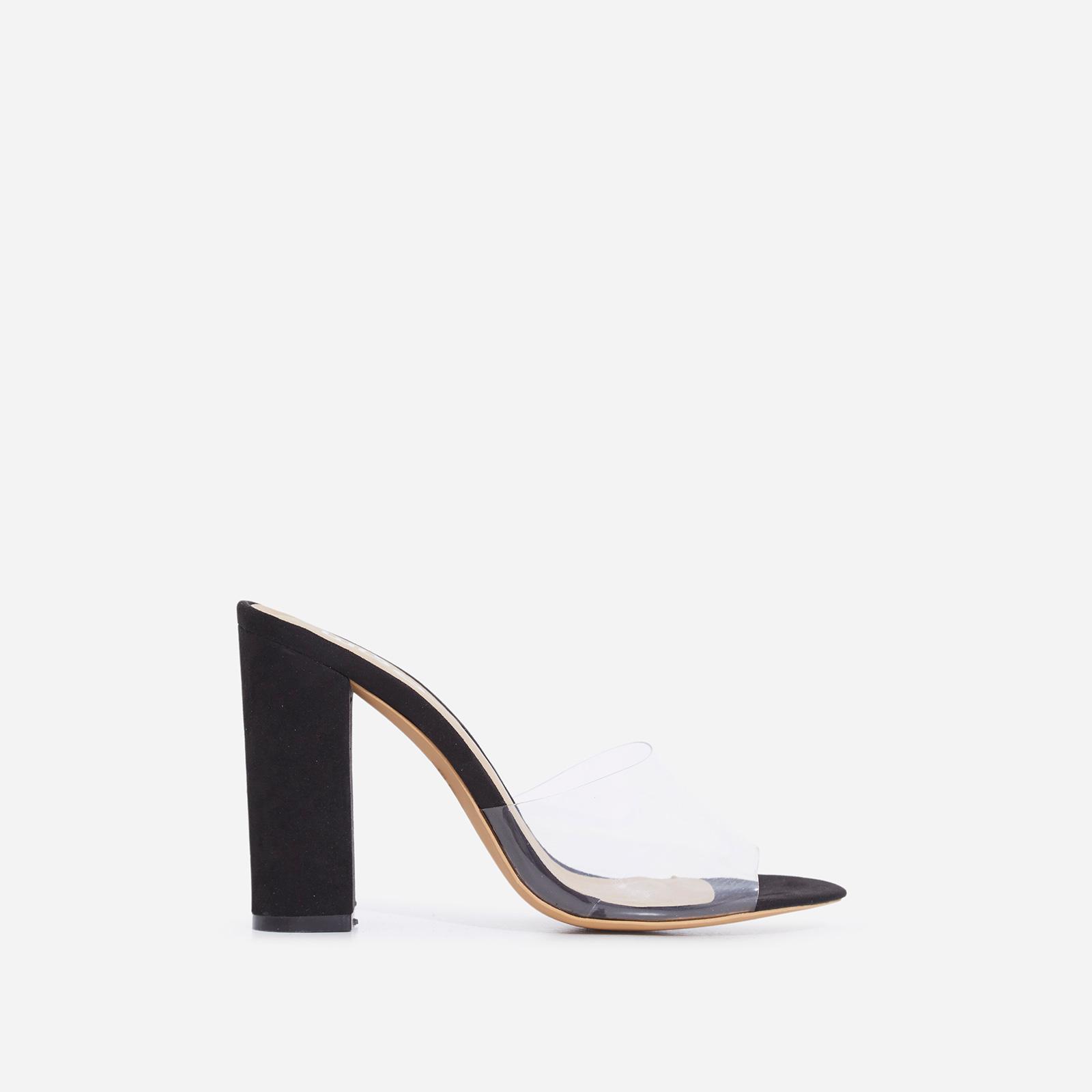 Kalia Peep Toe Perspex Block Heel In Black Faux Suede