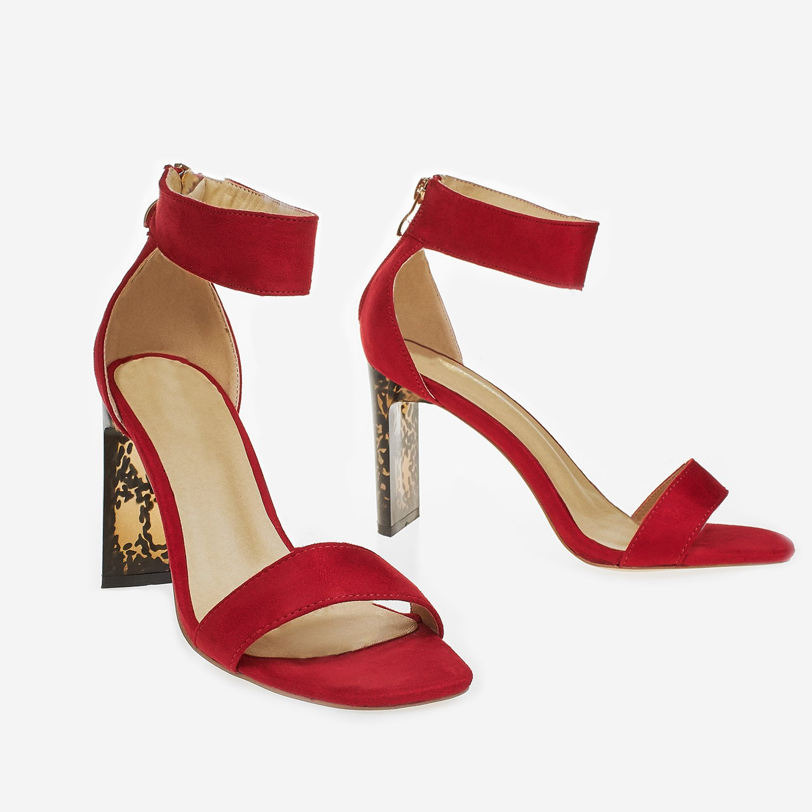 Leah Thin Block Heel In Red Faux Suede