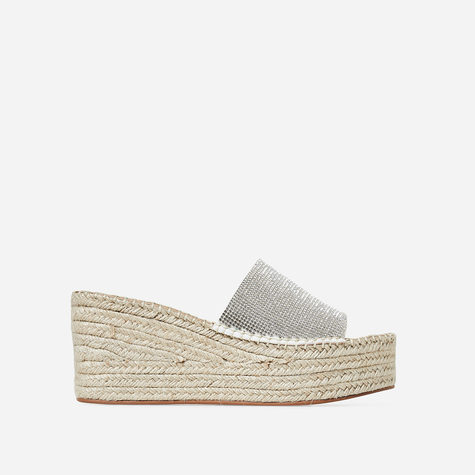 Kay Diamante Detail Flatform Espadrille Slider In White Faux Leather