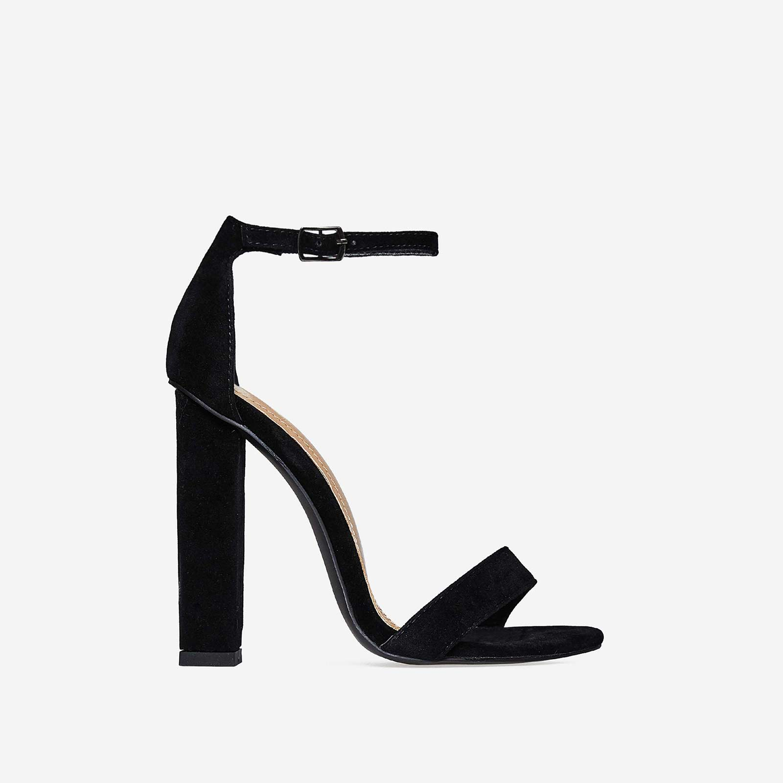 Kaylee Barely There Block Heel In Black Faux Suede