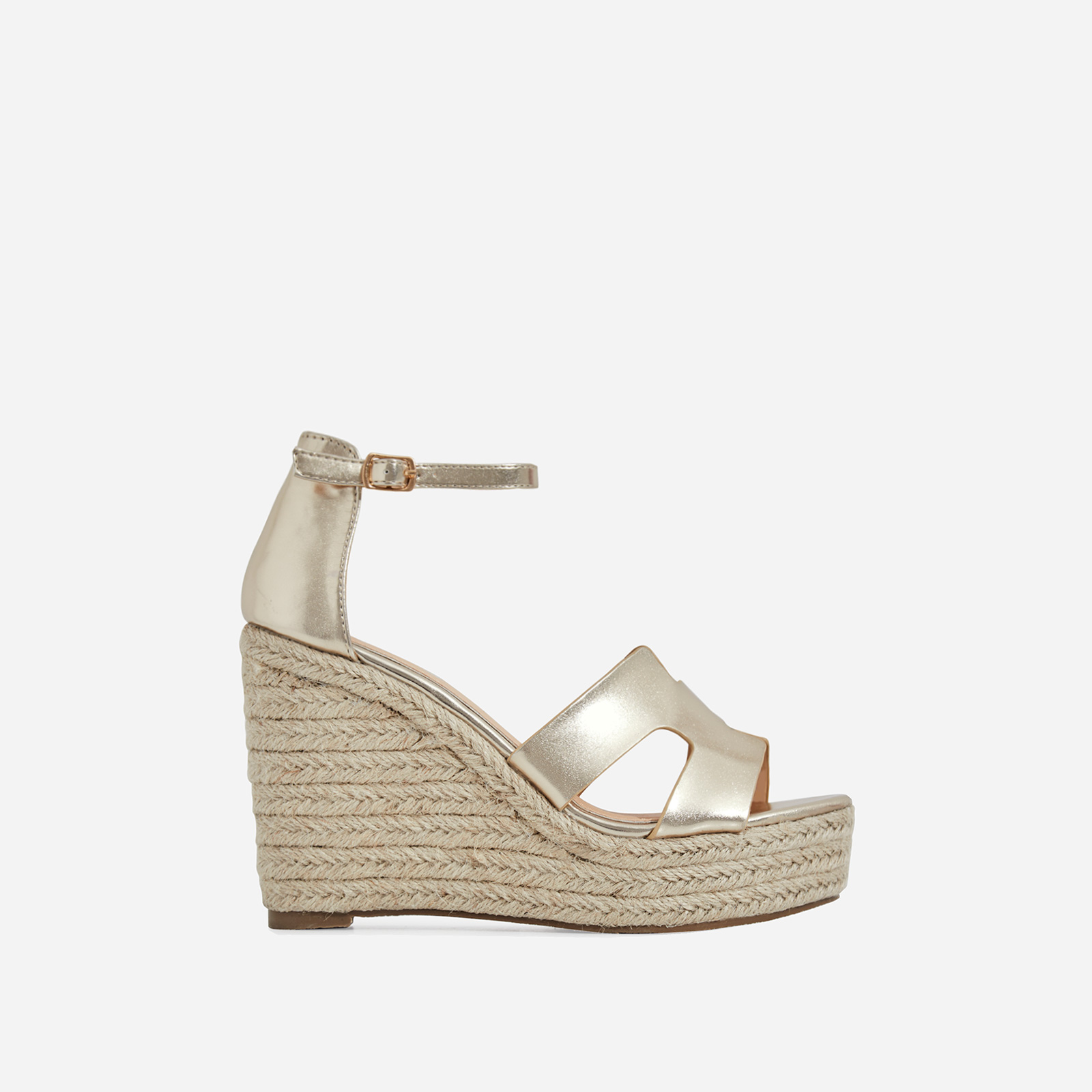 Kayson Platform Espadrille Wedge Block Heel In Gold Faux Leather