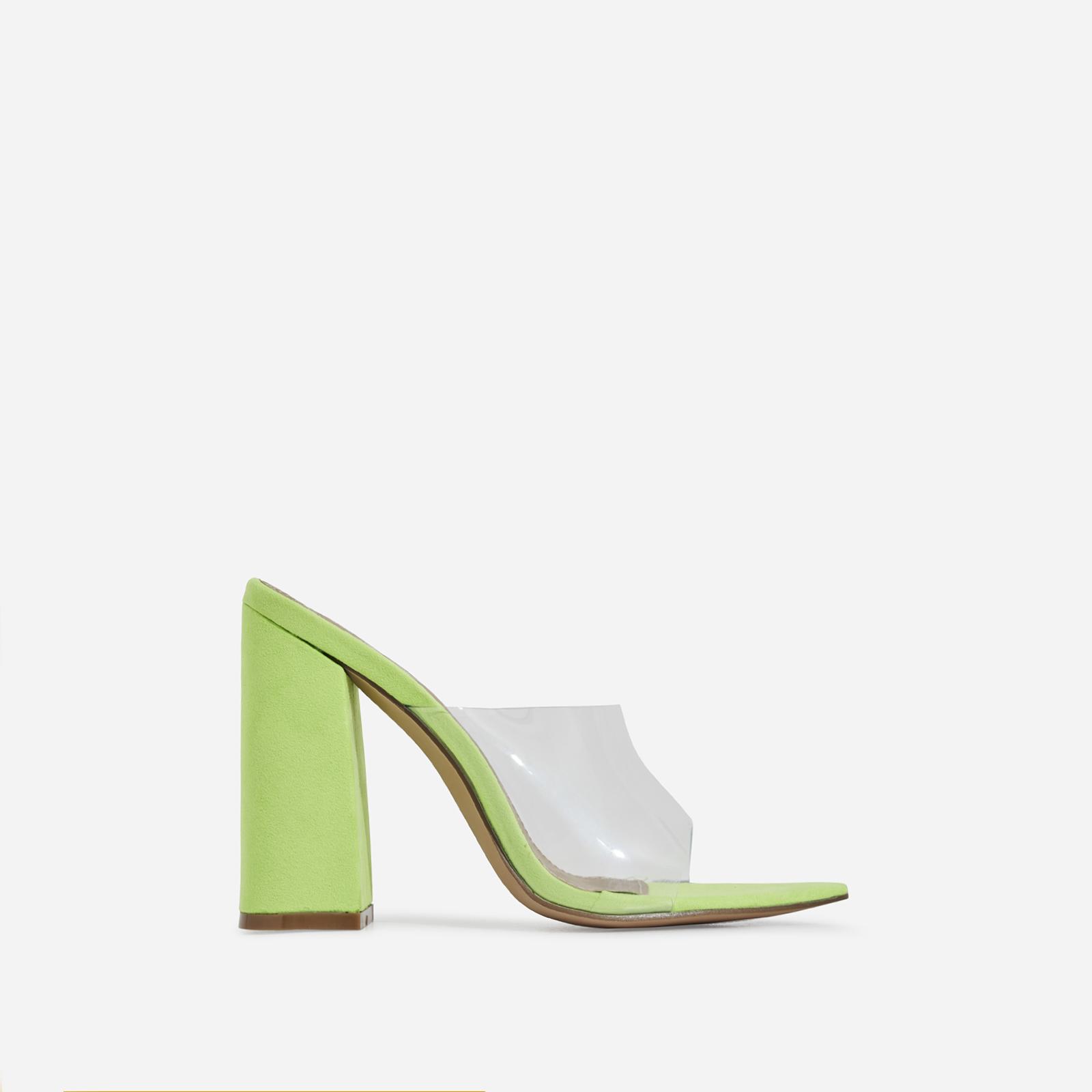 Kelby Pointed Peep Toe Block Heel Mule In Lime Green Faux Suede