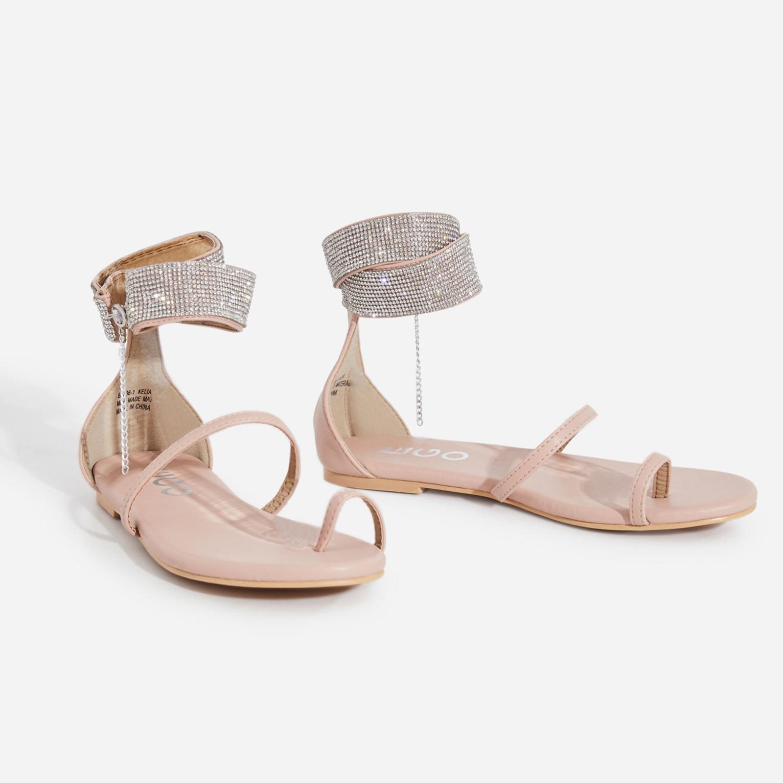 Kelia Diamante Detail Strap Sandal In Nude Faux Leather