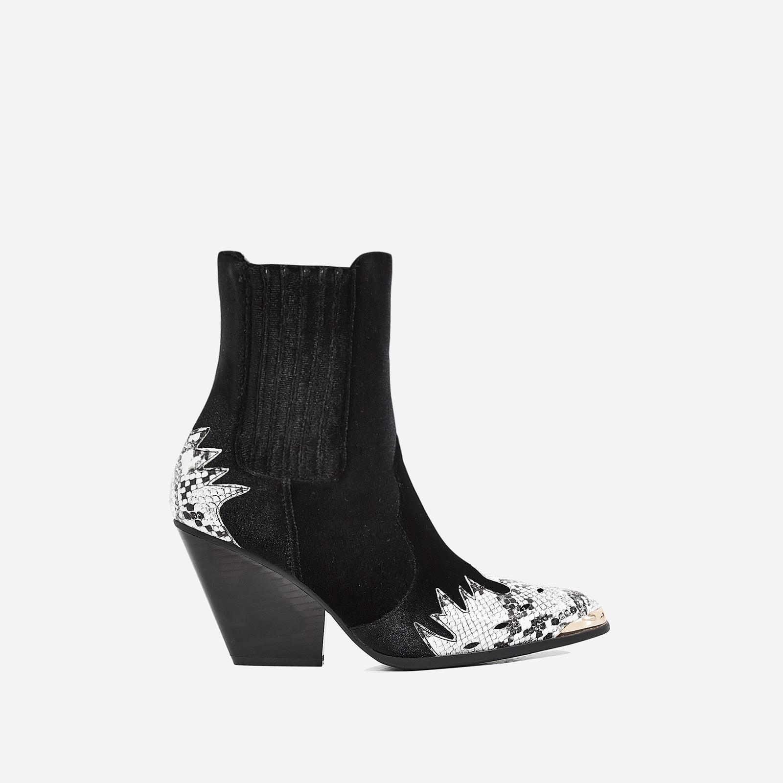 Kelsey Western Ankle Boot In Snake Print Black Velvet