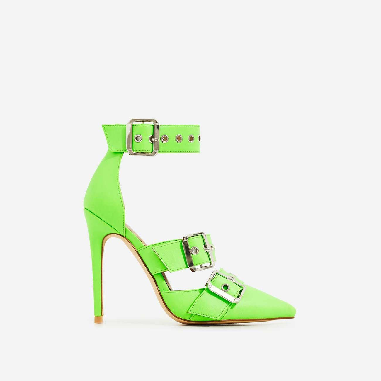 Kendall Buckle Strap Detail Heel In Neon Green Faux Leather