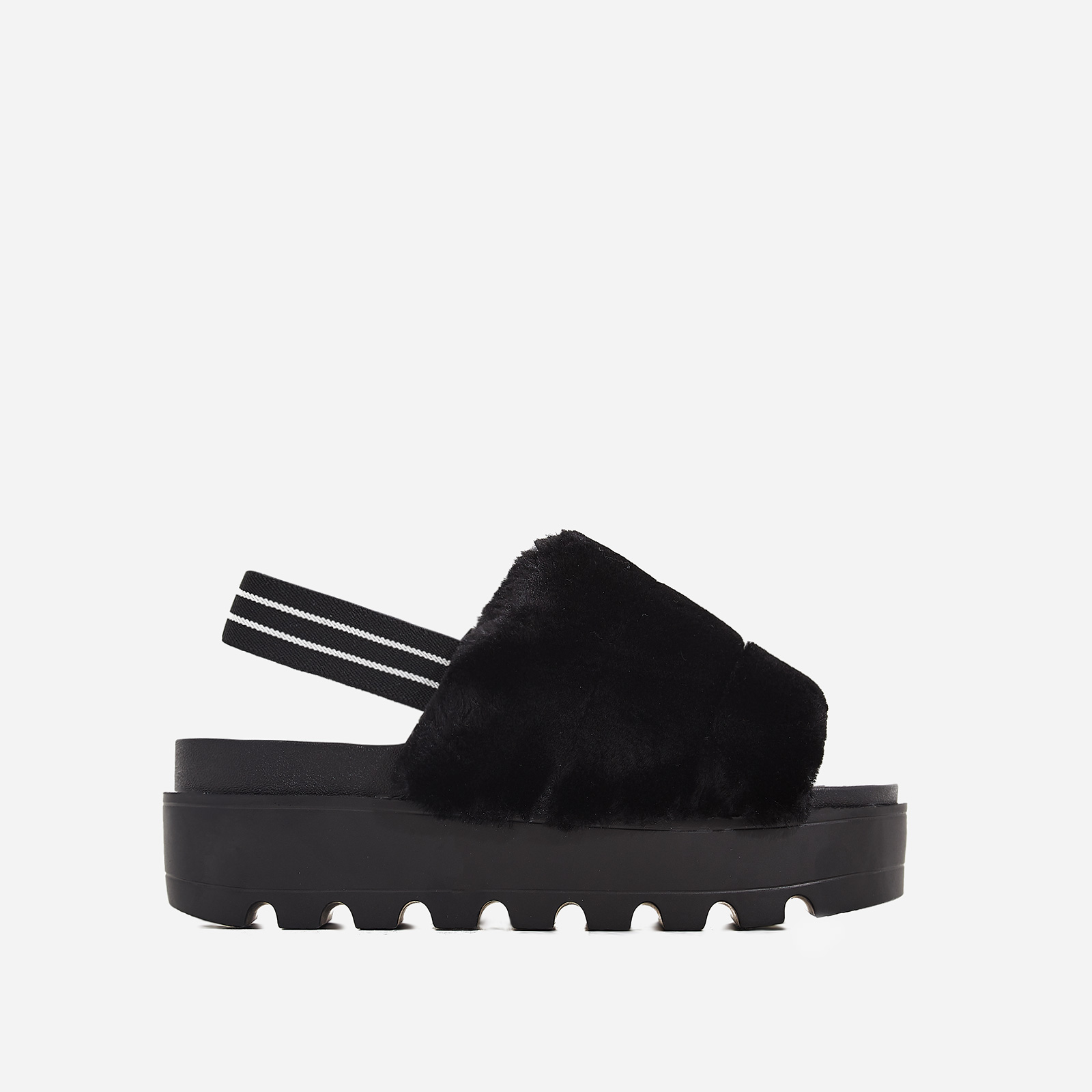Kenzie Chunky Sole Sandal In Black Faux Fur