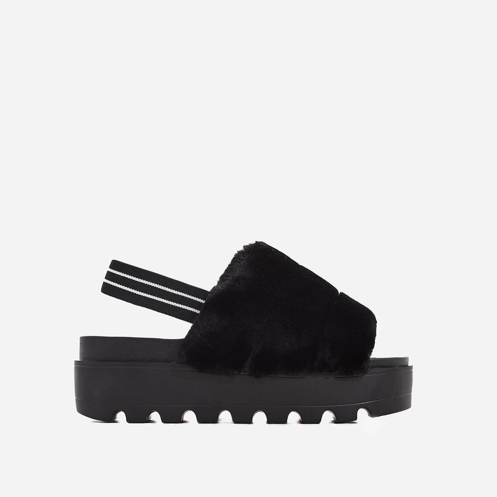 Kenzie Chunky Sole Sandal In Black Faux Fur
