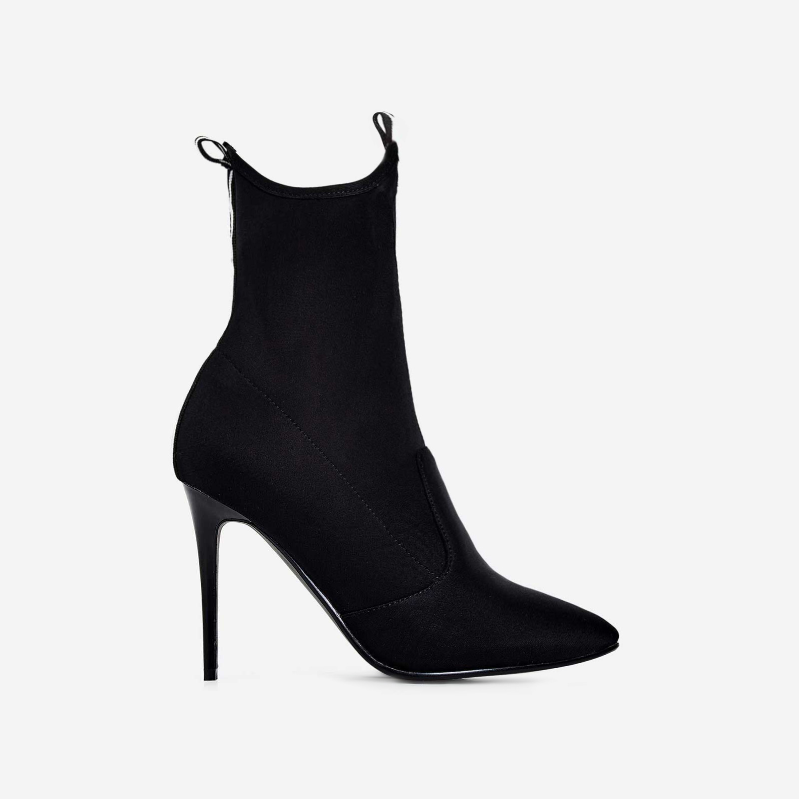 Kiko Pointed Toe Ankle Sock Boot In Black Lycra