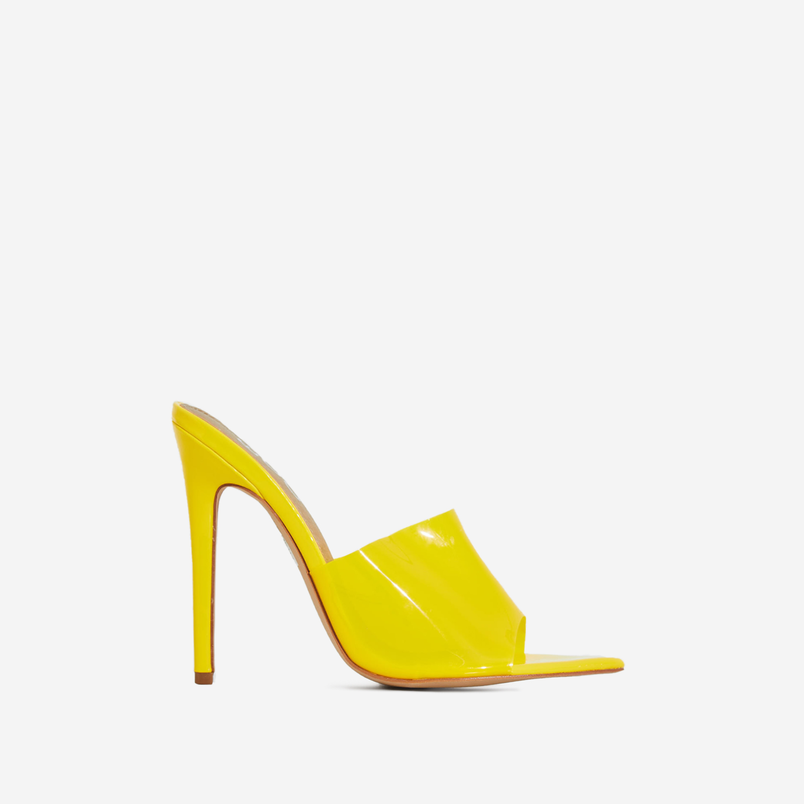 Kilo Perspex Peep Toe Mule In All Yellow Patent