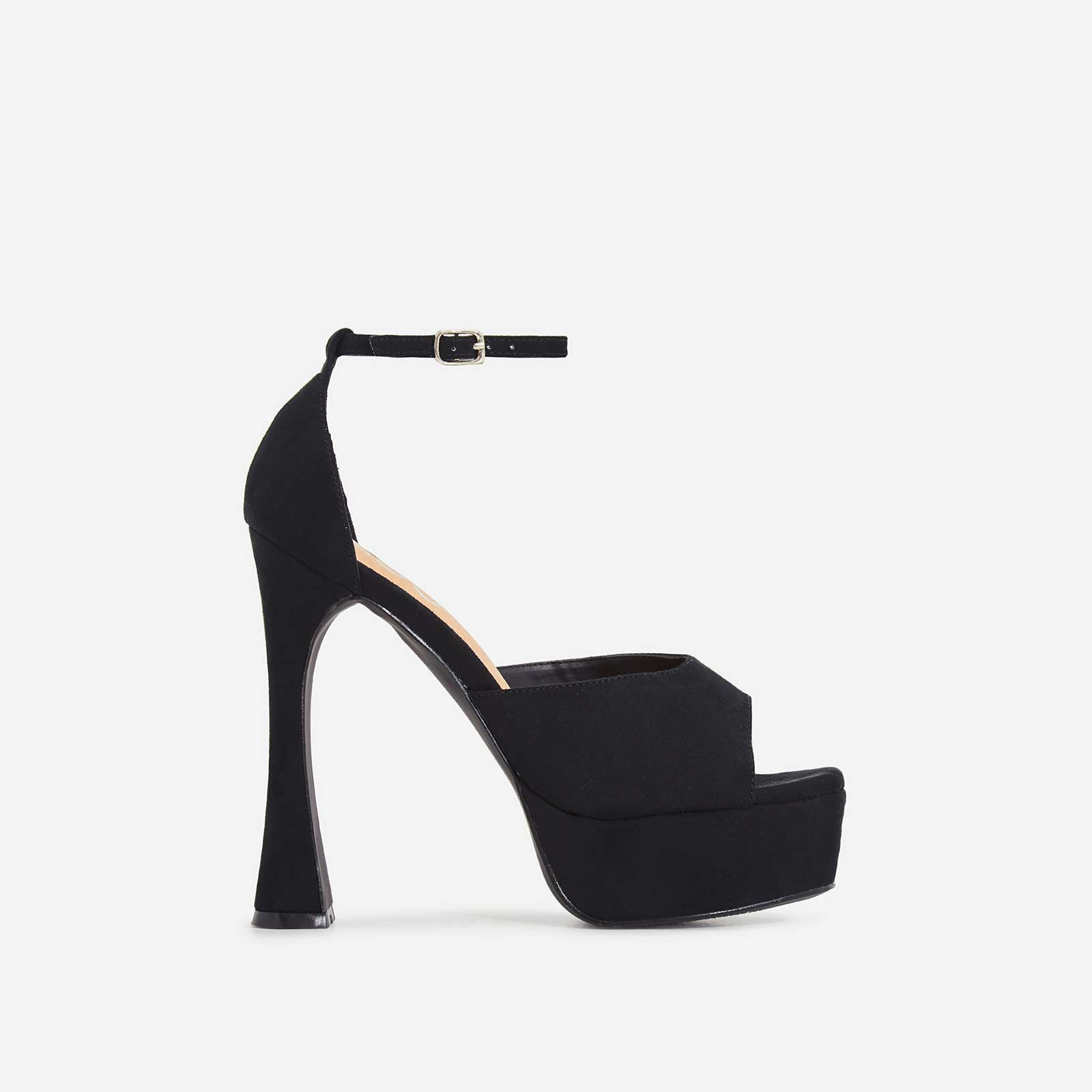 Kimmie Square Toe Platform Curved Heel In Black Faux Suede