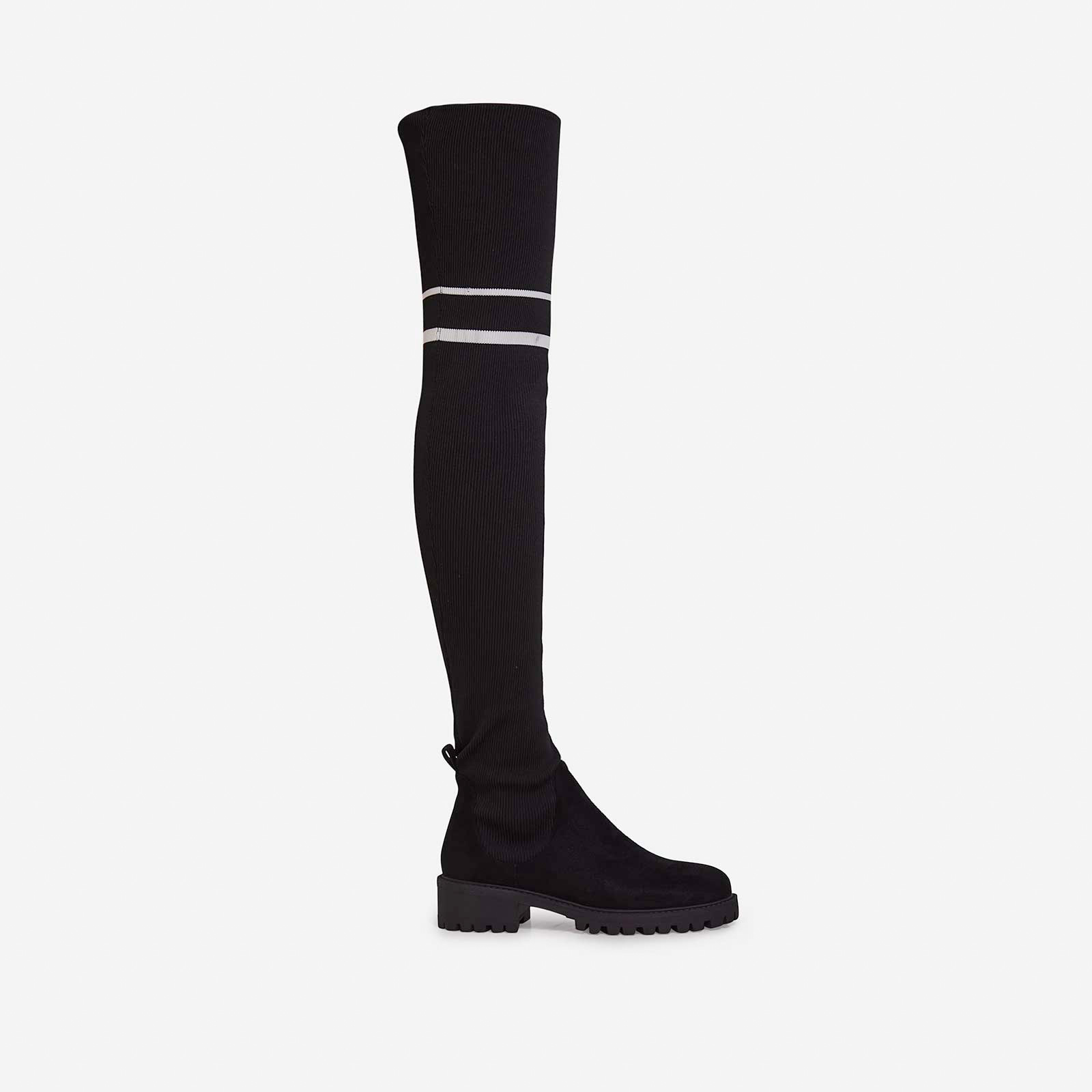 Koby Knitted Over The Knee Long Boot In Black Faux Suede