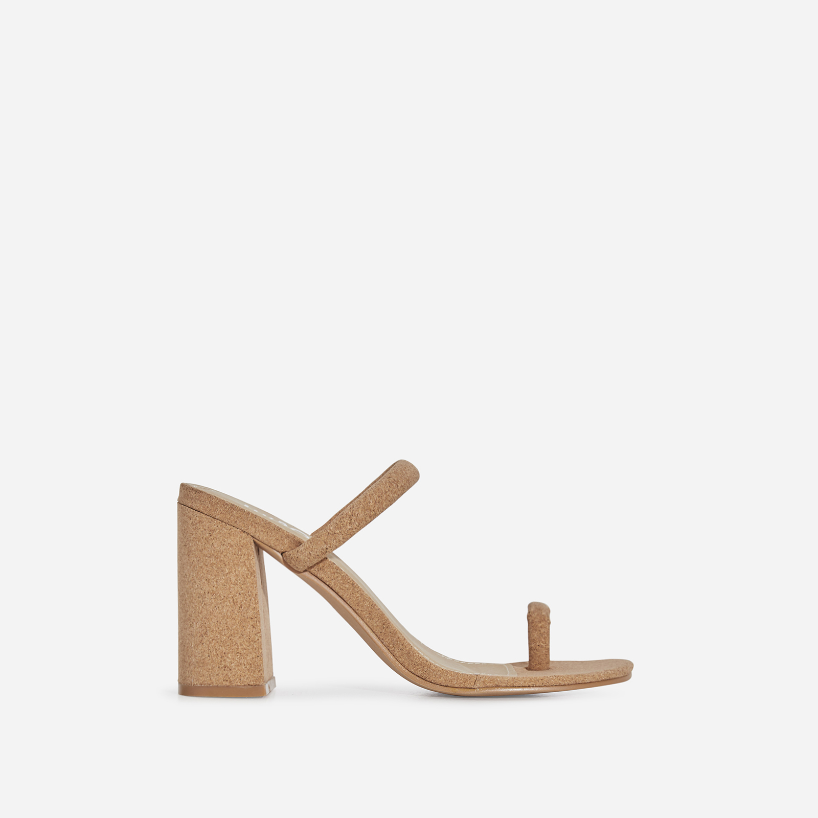 Kourt Toe Strap Black Heel Mule In Cork